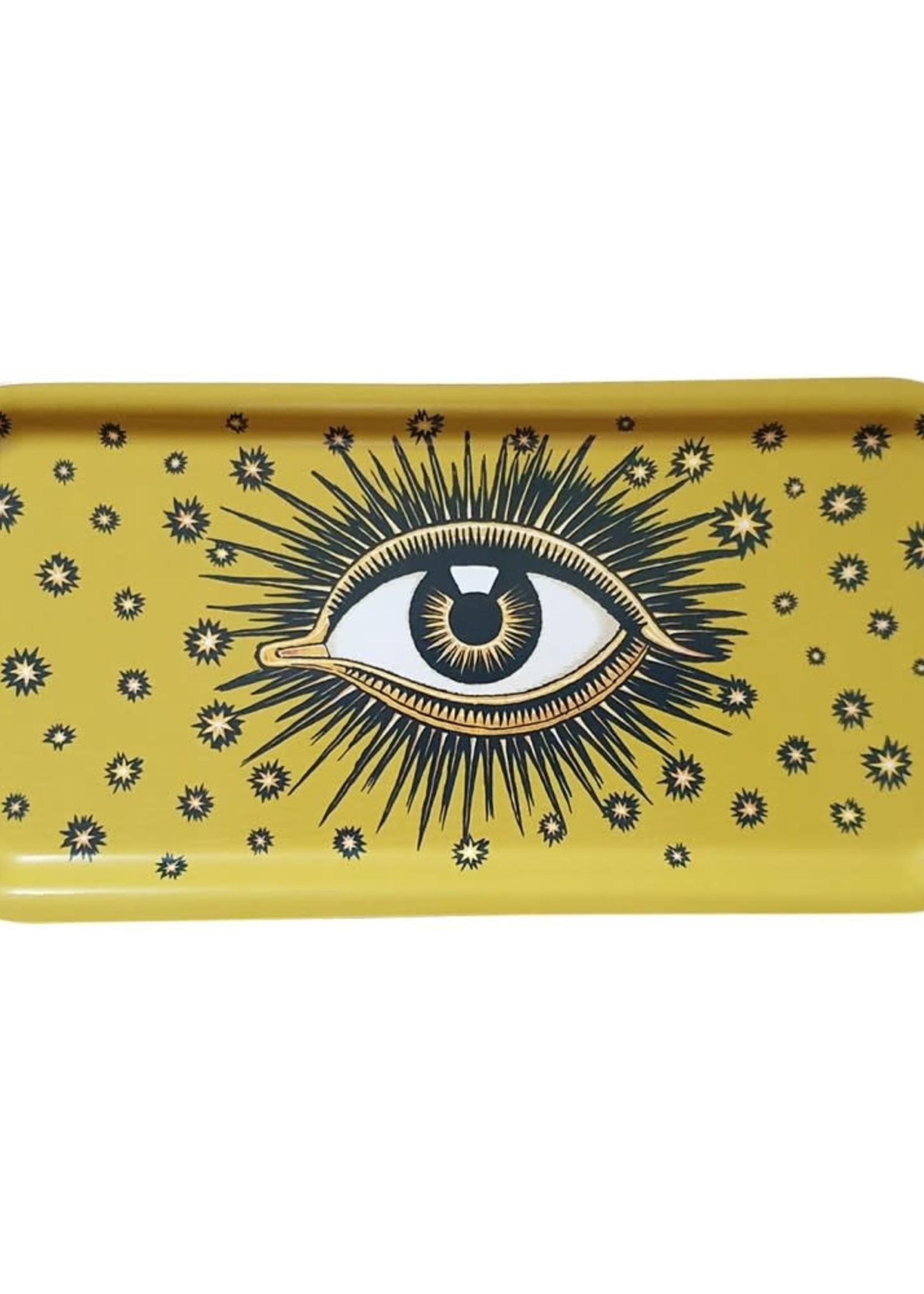 Les Ottomans Dienblad oog GEEL hout 27.5x13.5