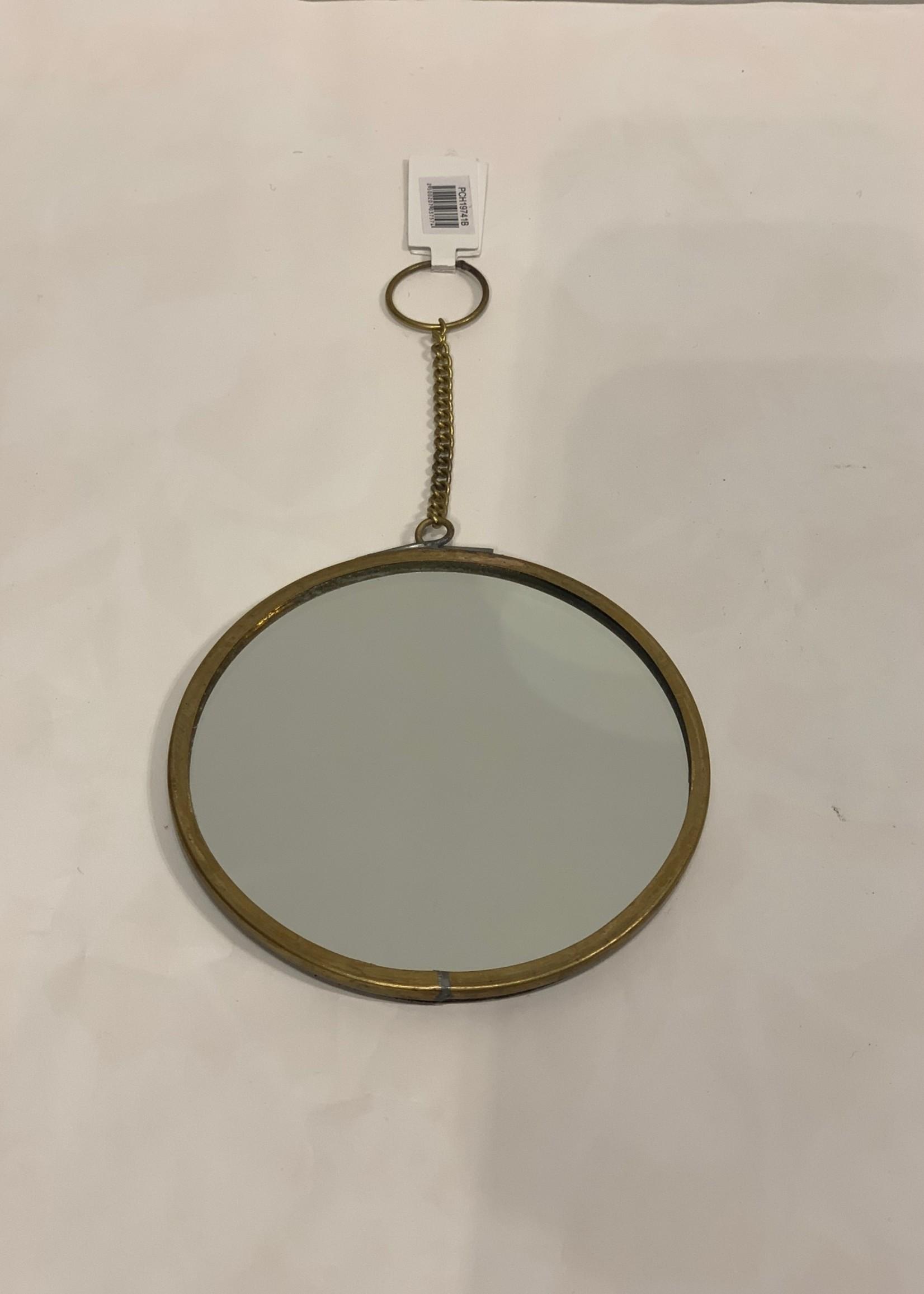 Madam Stoltz Spiegel aan ketting Goud S d10 cm