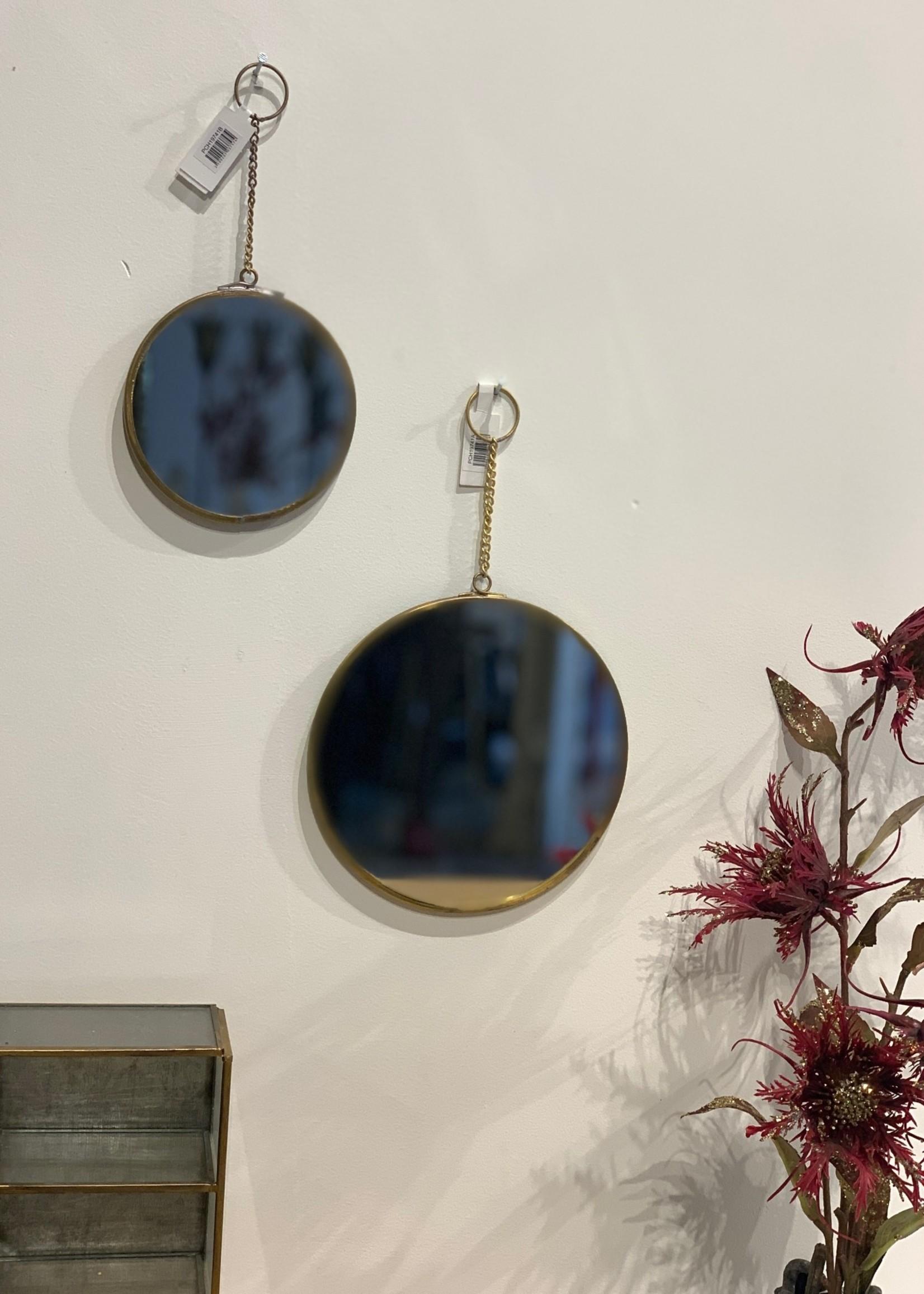 Madam Stoltz Spiegel aan ketting Goud L d15 cm