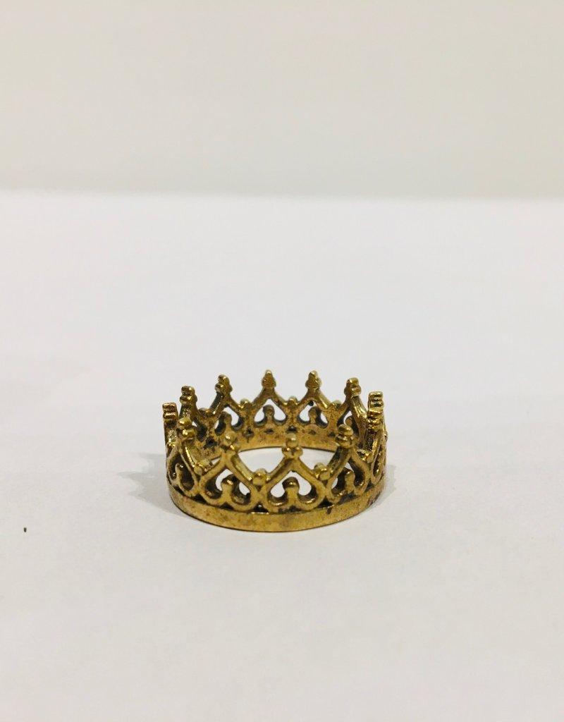 Mondo E Colori Ring goud kroontje maat 17