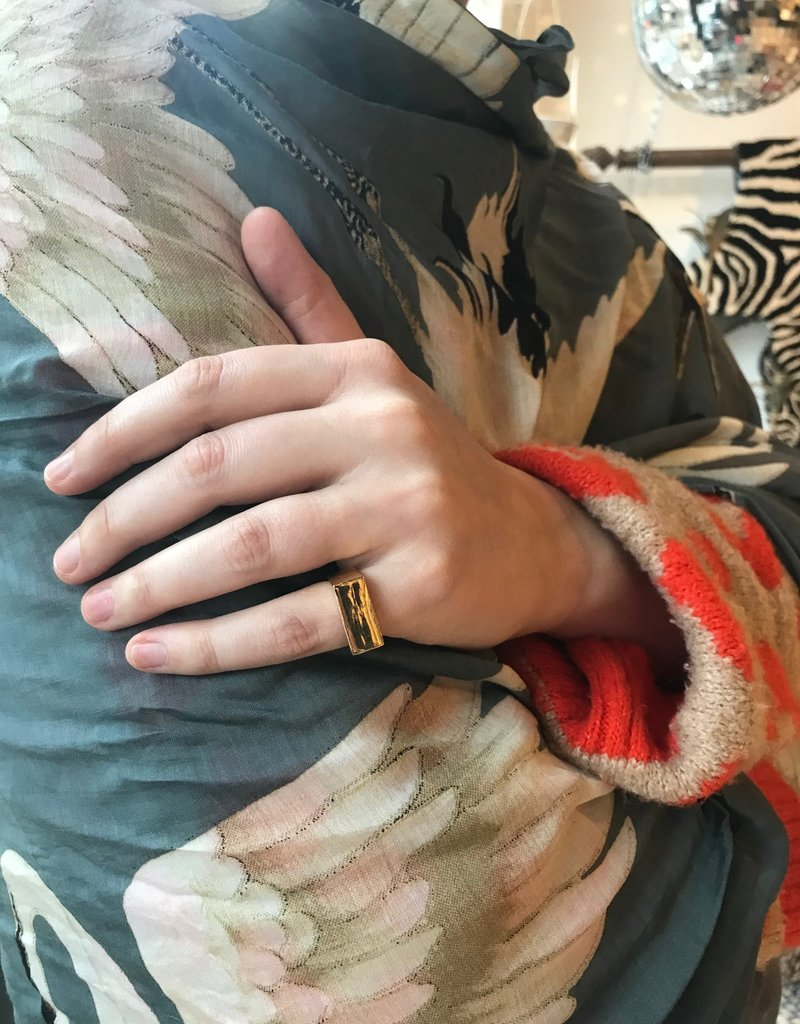Mondo E Colori Ring rechthoek goud maat 18