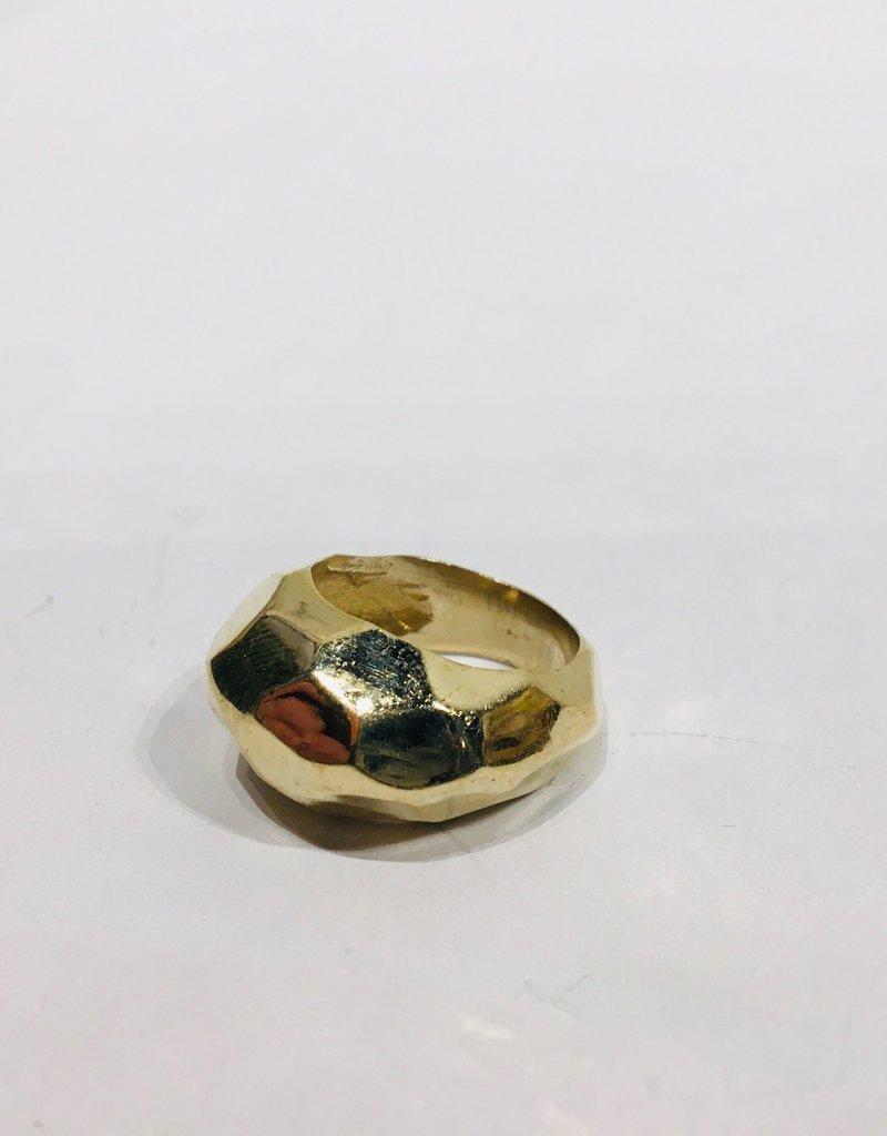 Mondo E Colori Ring reliëf vijfhoek goud maat 18