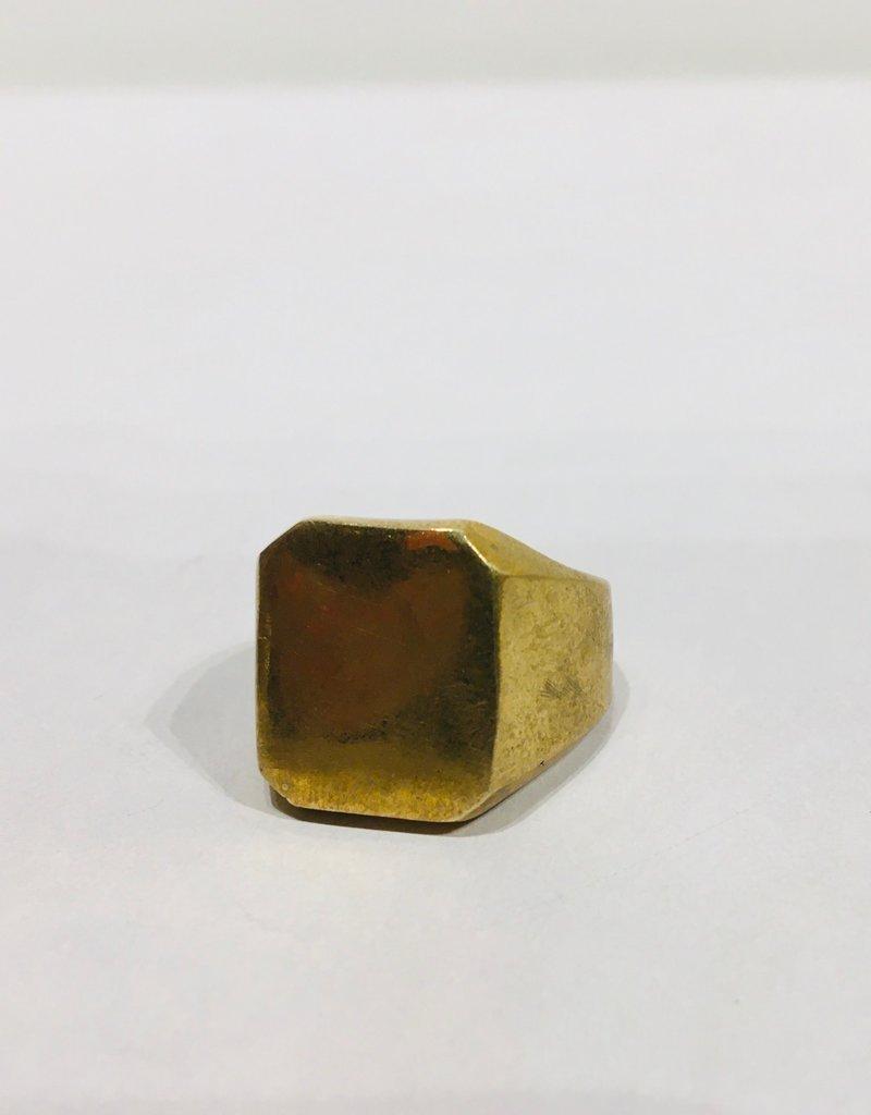Mondo E Colori Ring zegelring vierkant goud maat 18