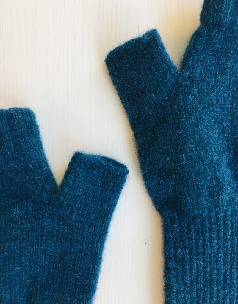 GreenGroveWeavers Handschoen LANG vingerloos  100% lamswol BLAUW