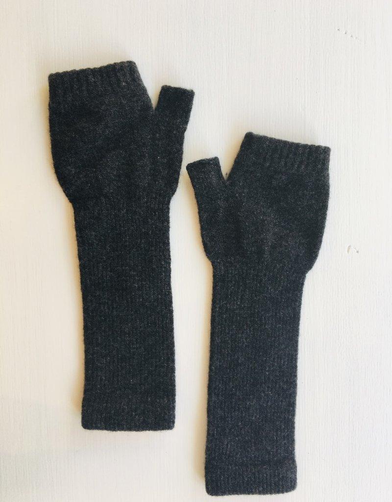 GreenGroveWeavers Handschoen LANG vingerloos  100% lamswol DONKER GRIJS