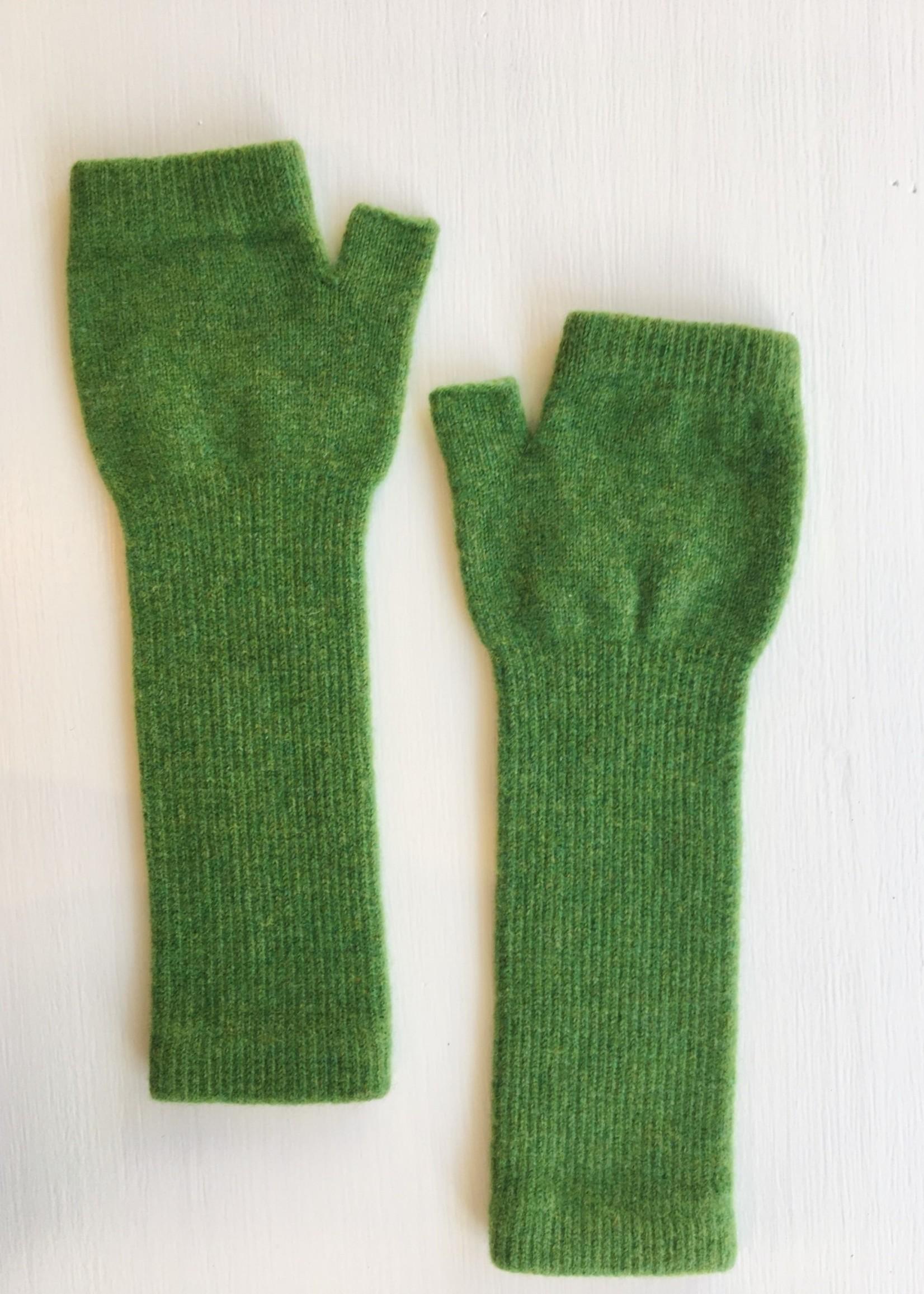 GreenGroveWeavers Handschoen LANG vingerloos  100% lamswol GROEN