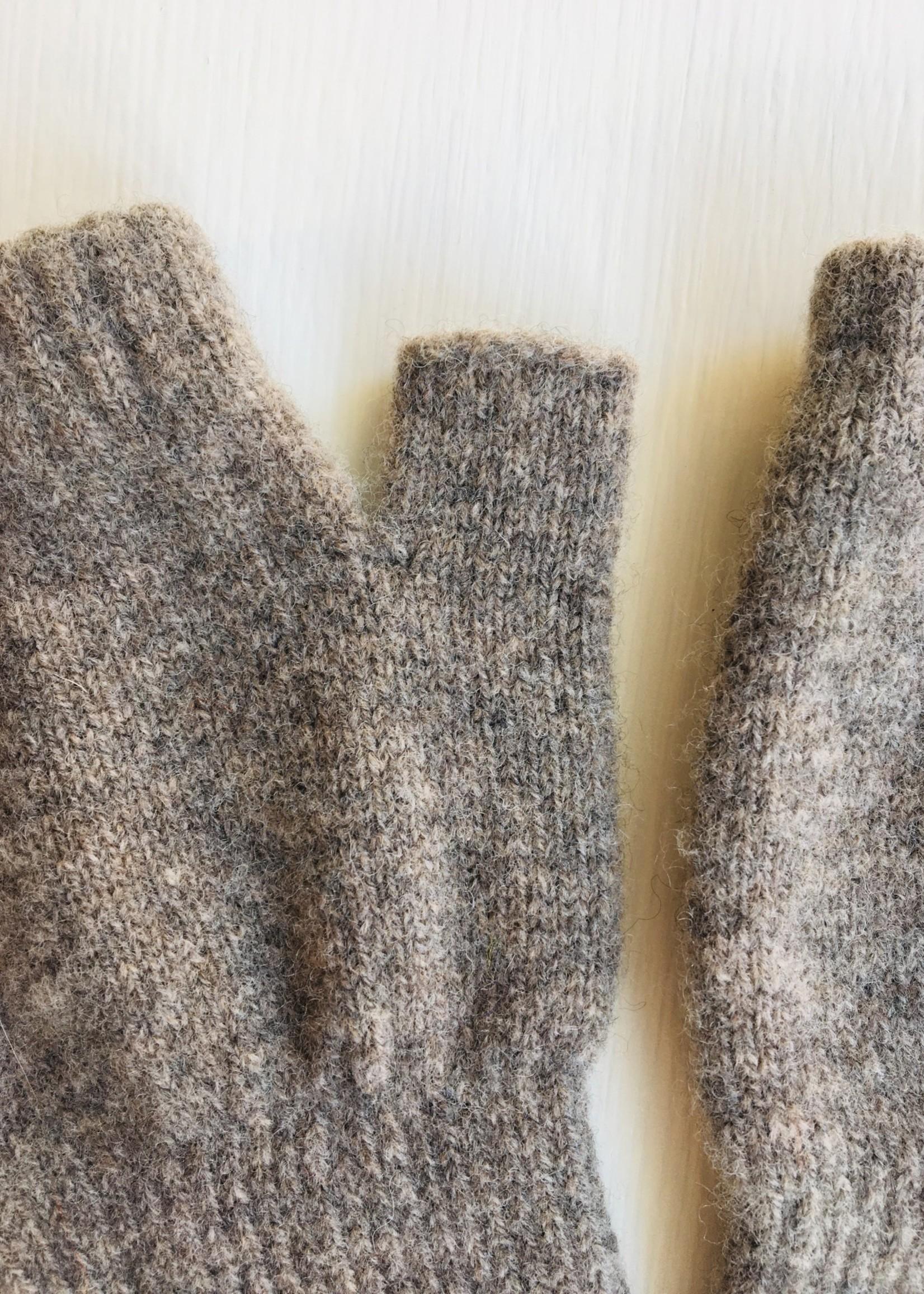 GreenGroveWeavers Handschoen LANG vingerloos  100% lamswol TAUPE