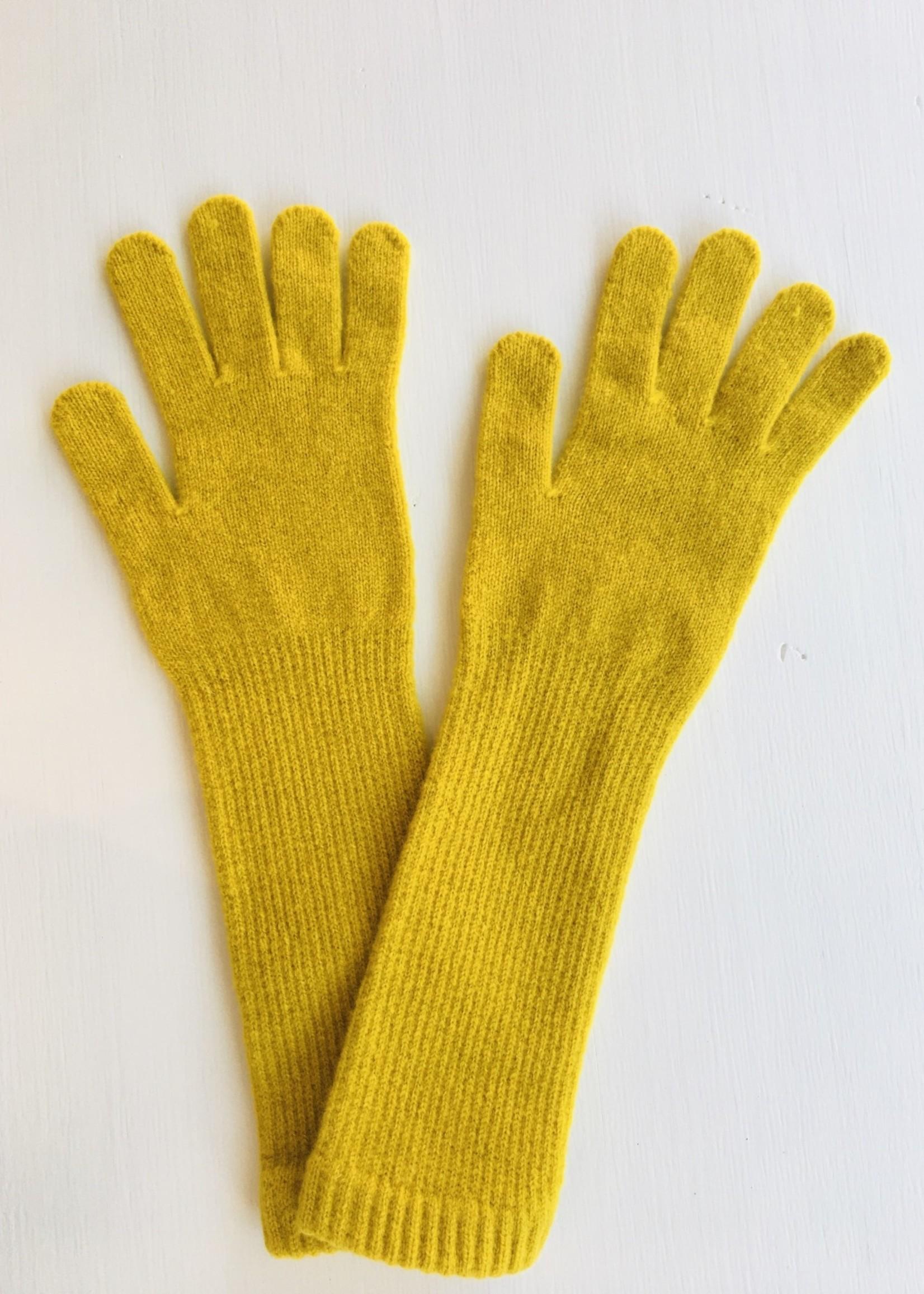 GreenGroveWeavers Handschoen 100% lamswol LANG geel
