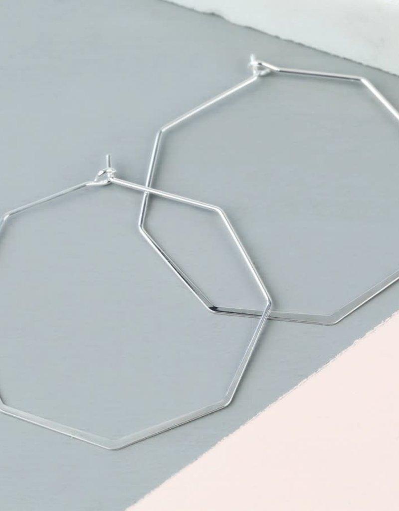 Lisa Angel Oorbellen achthoek Zilver