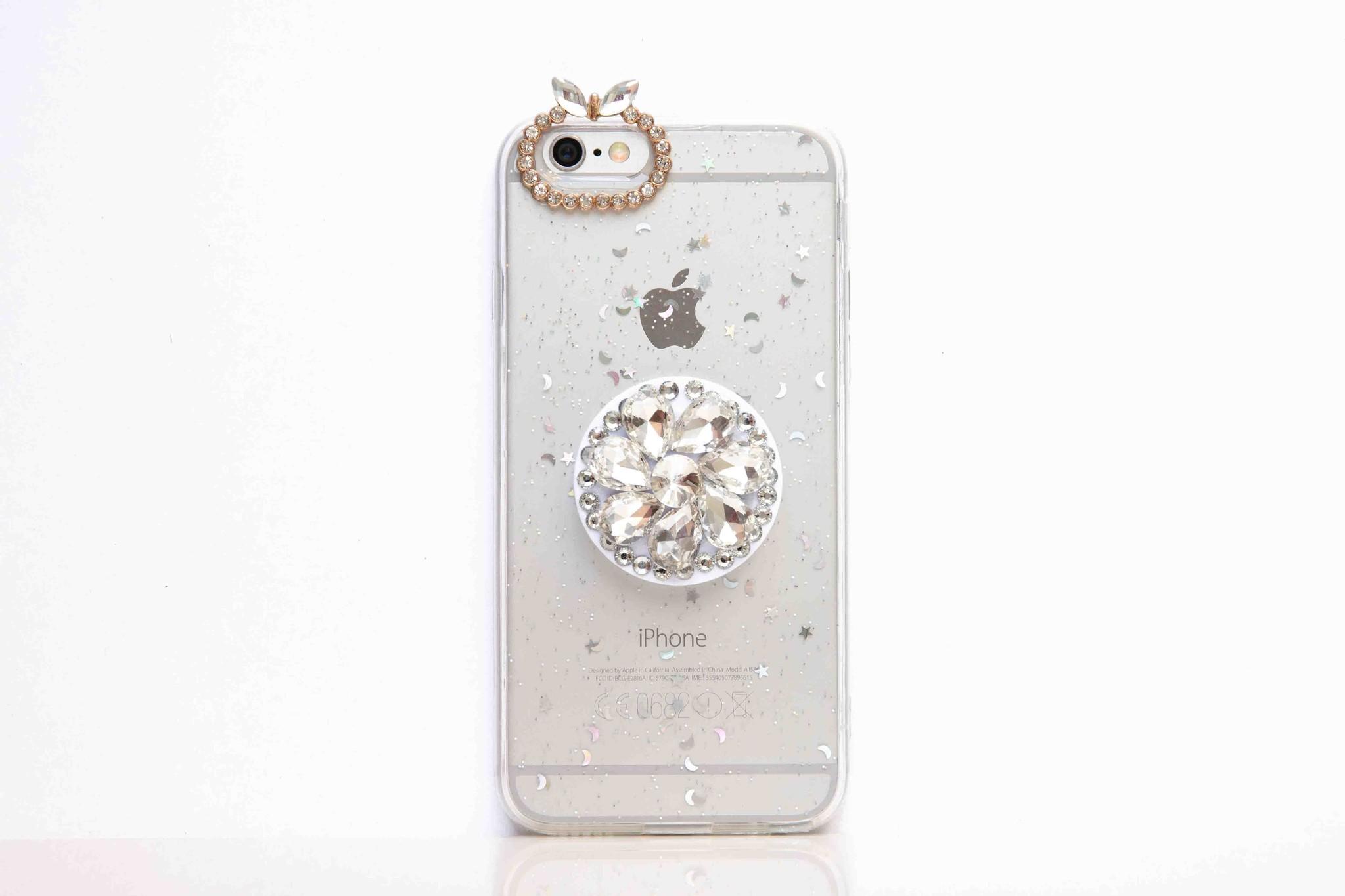 Smartphonehoesje iPhone 7 / 8, bling (met handige houder) | Transparant
