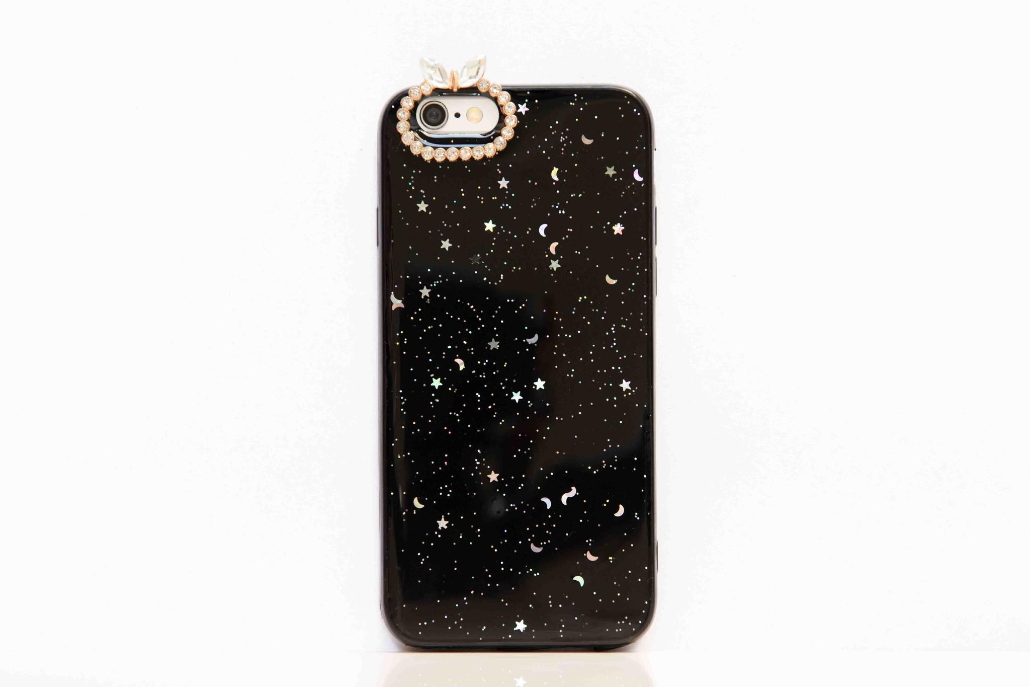 Smartphonehoesje iPhone 6s, bling (met handige houder) | Zwart