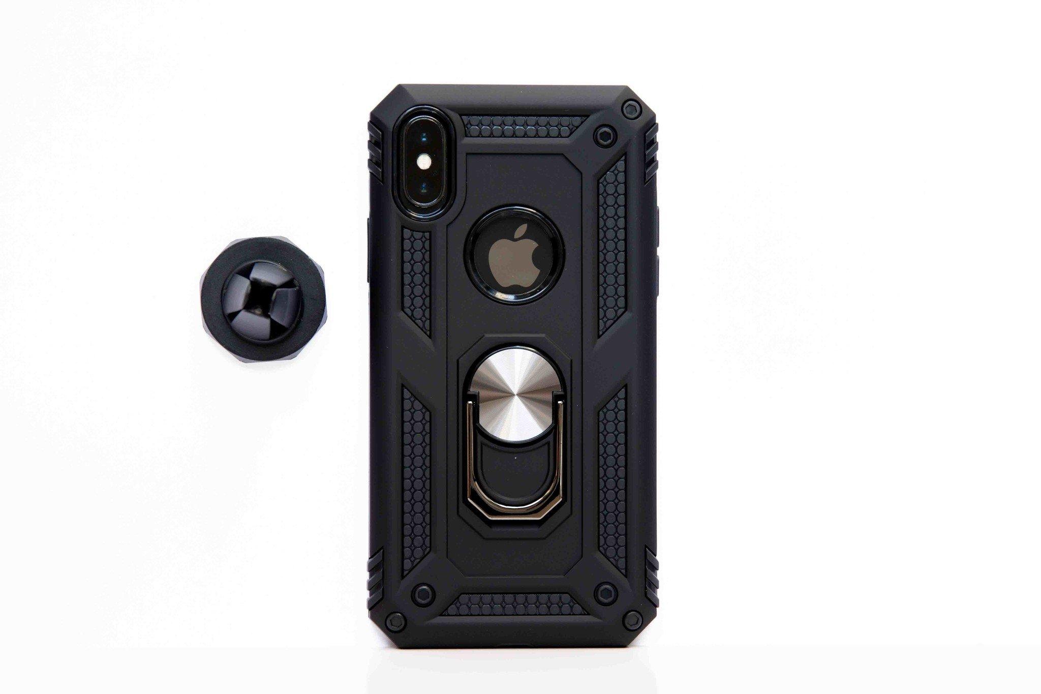 Smartphonehoesje iPhone X / XS   Bouw / shockproof (met standaard & magneet)   Zwart