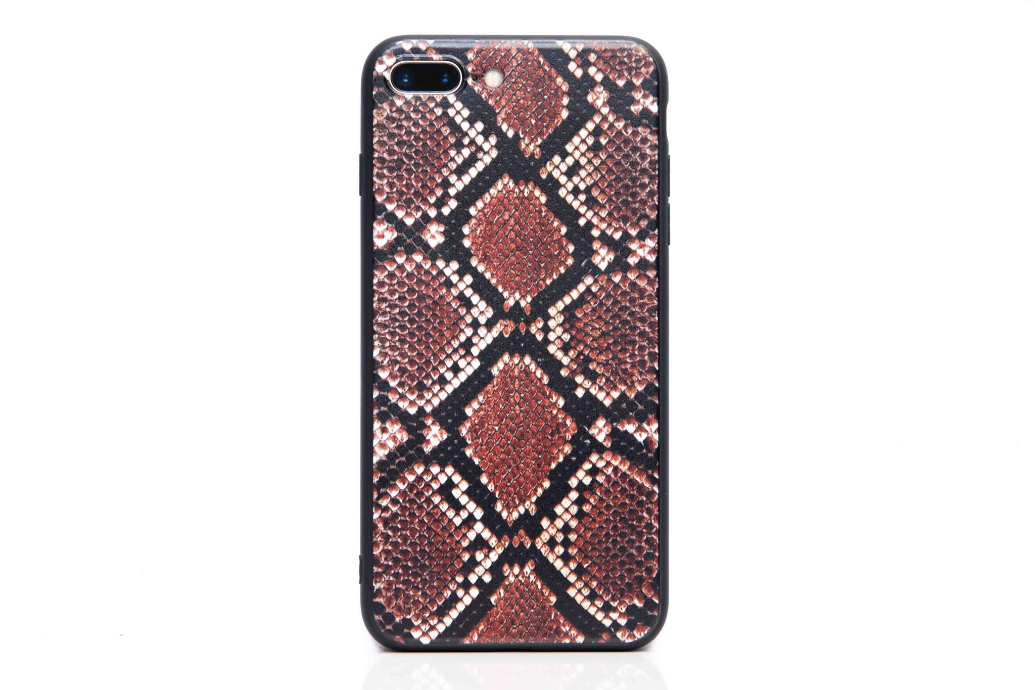 Smartphonehoesje iPhone 7 / 8 | Dierenprint slangen | Zwart / bruin