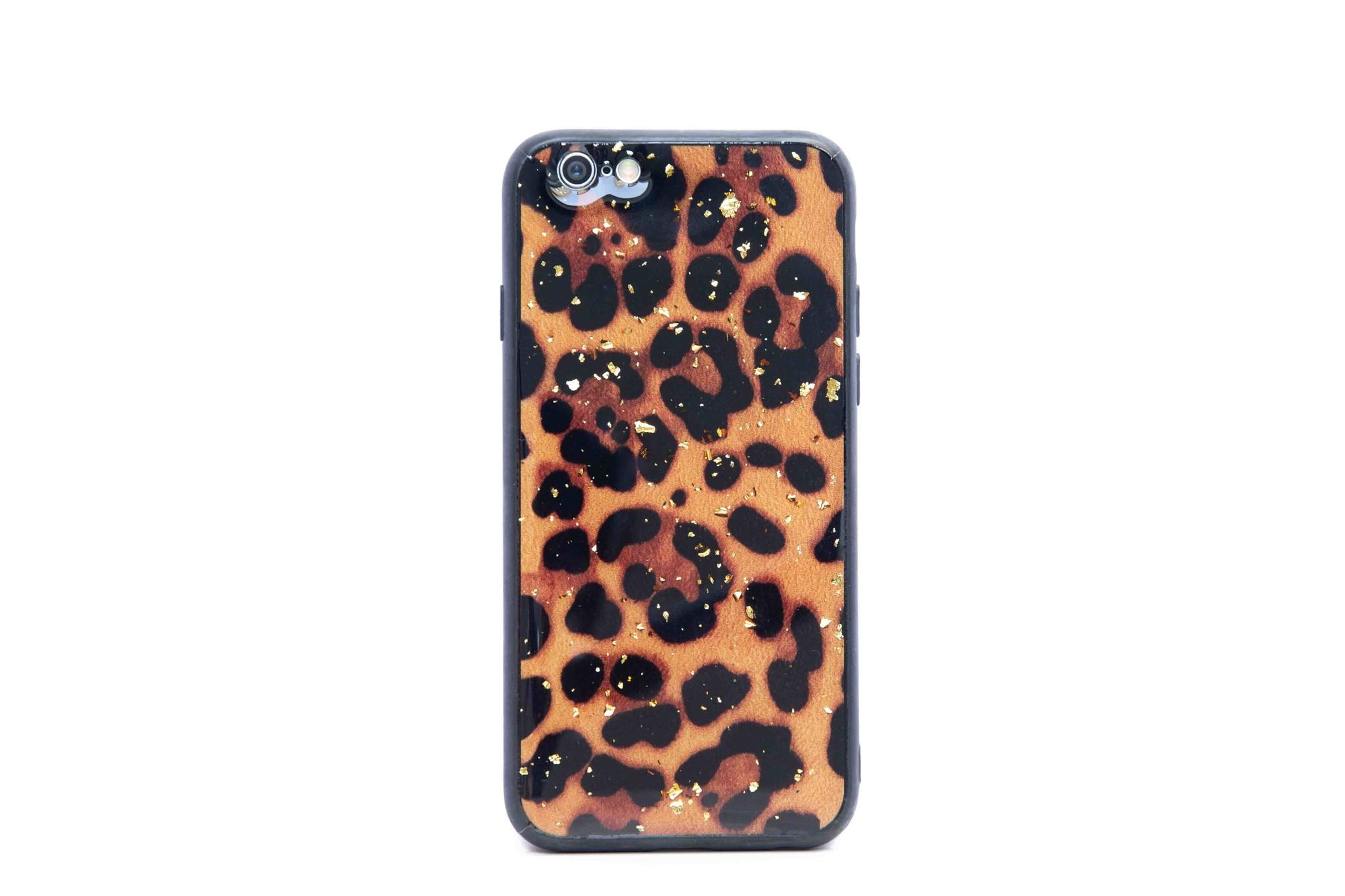 Smartphonehoesje iPhone 6s | Luipaard print (glitters) | Zwart / bruin