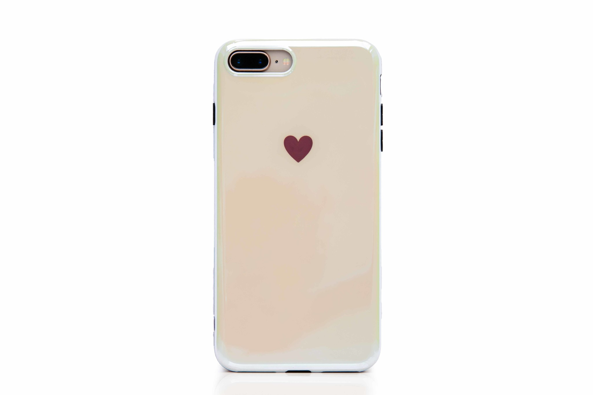 Smartphonehoesje iPhone 7 plus / 8 plus | Effen kleur met hartje | Shiny white