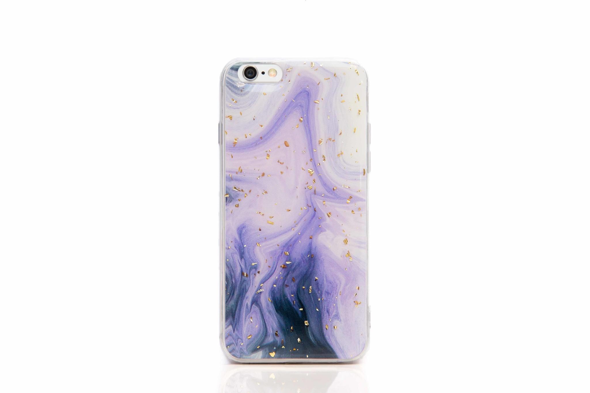 Smartphonehoesje iPhone 6s | Marmerlook (glitter) | Paars / wit