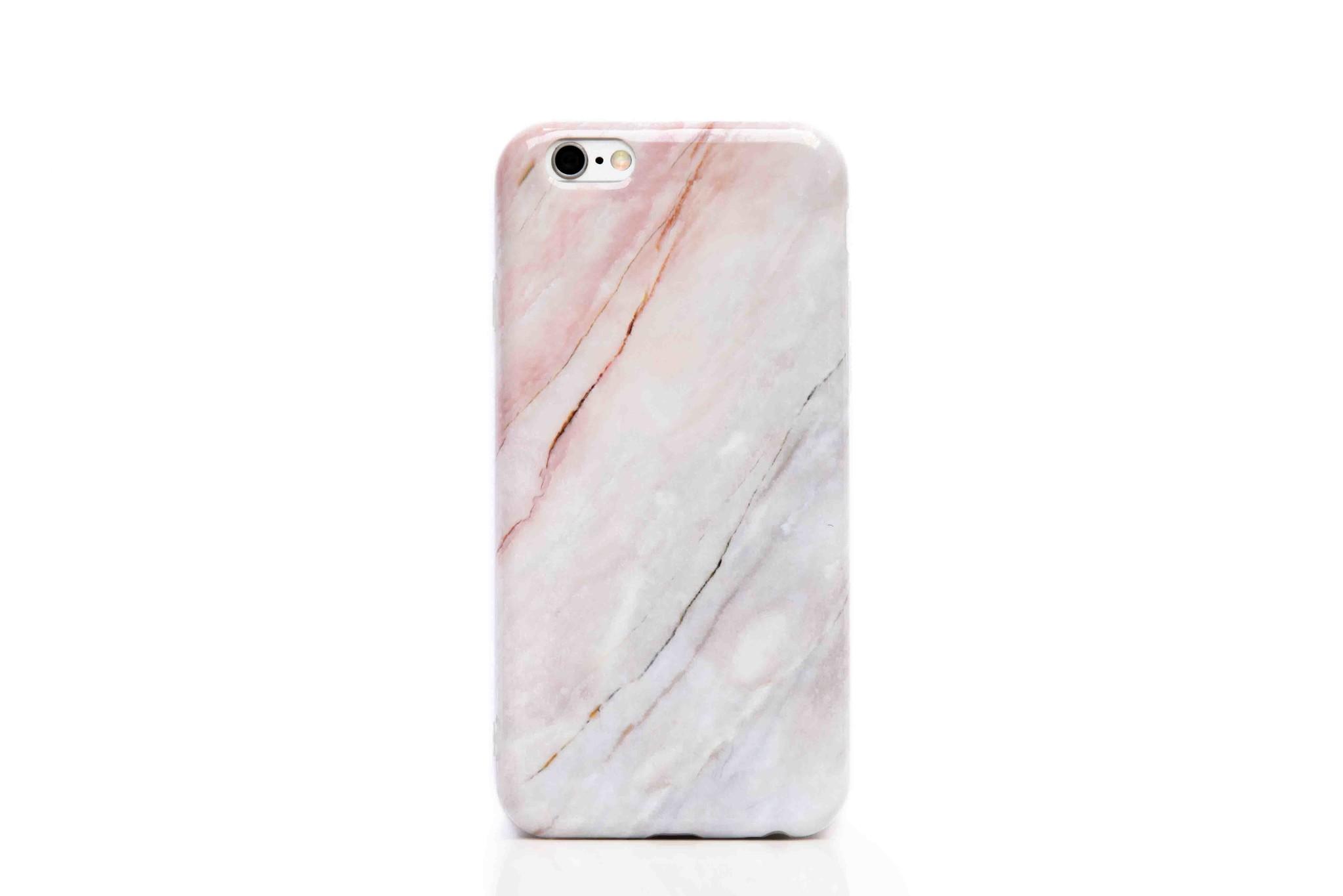 Smartphonehoesje iPhone 6 plus   Marmerlook   Wit / roze
