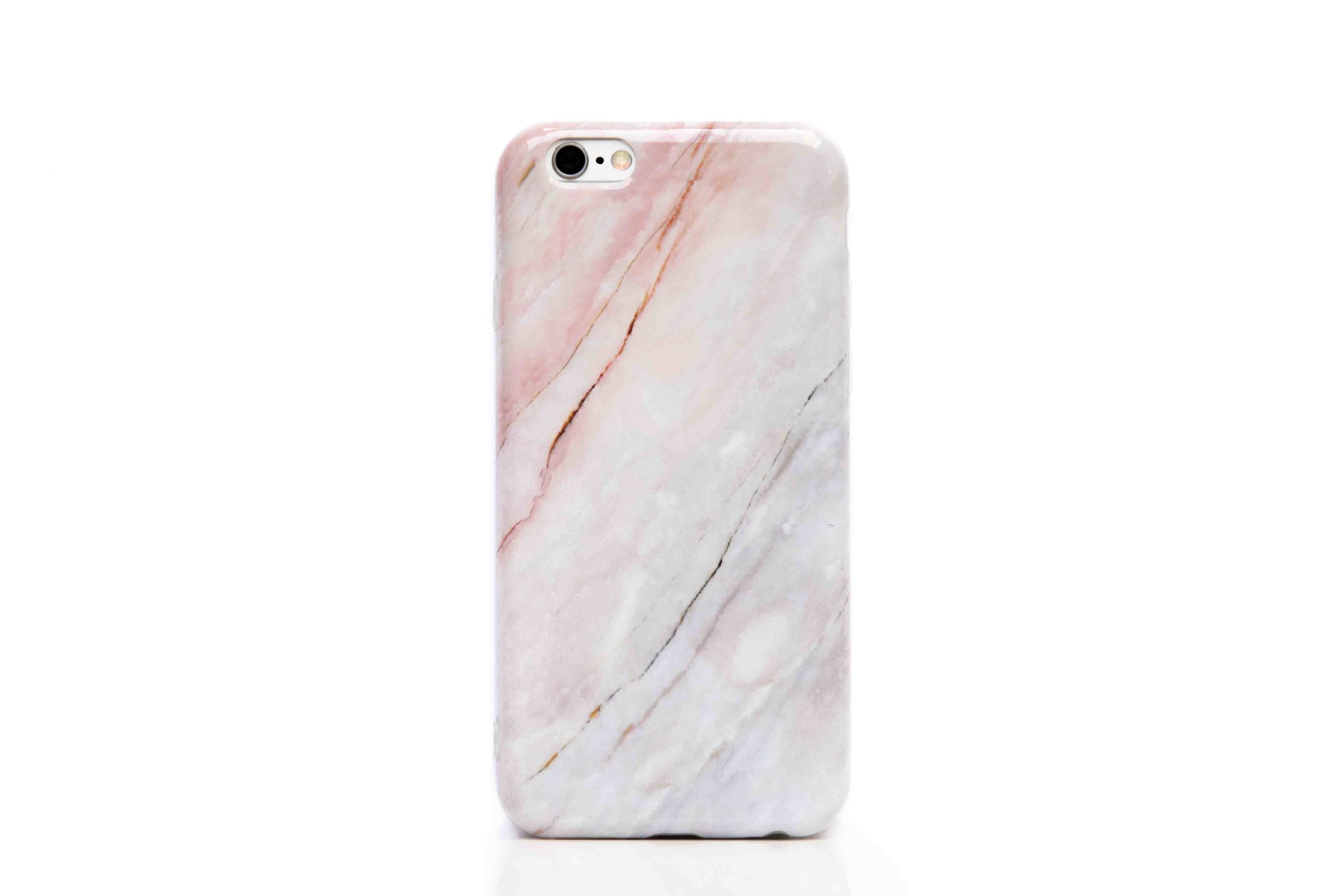 Smartphonehoesje iPhone 6s | Marmerlook | Wit / roze