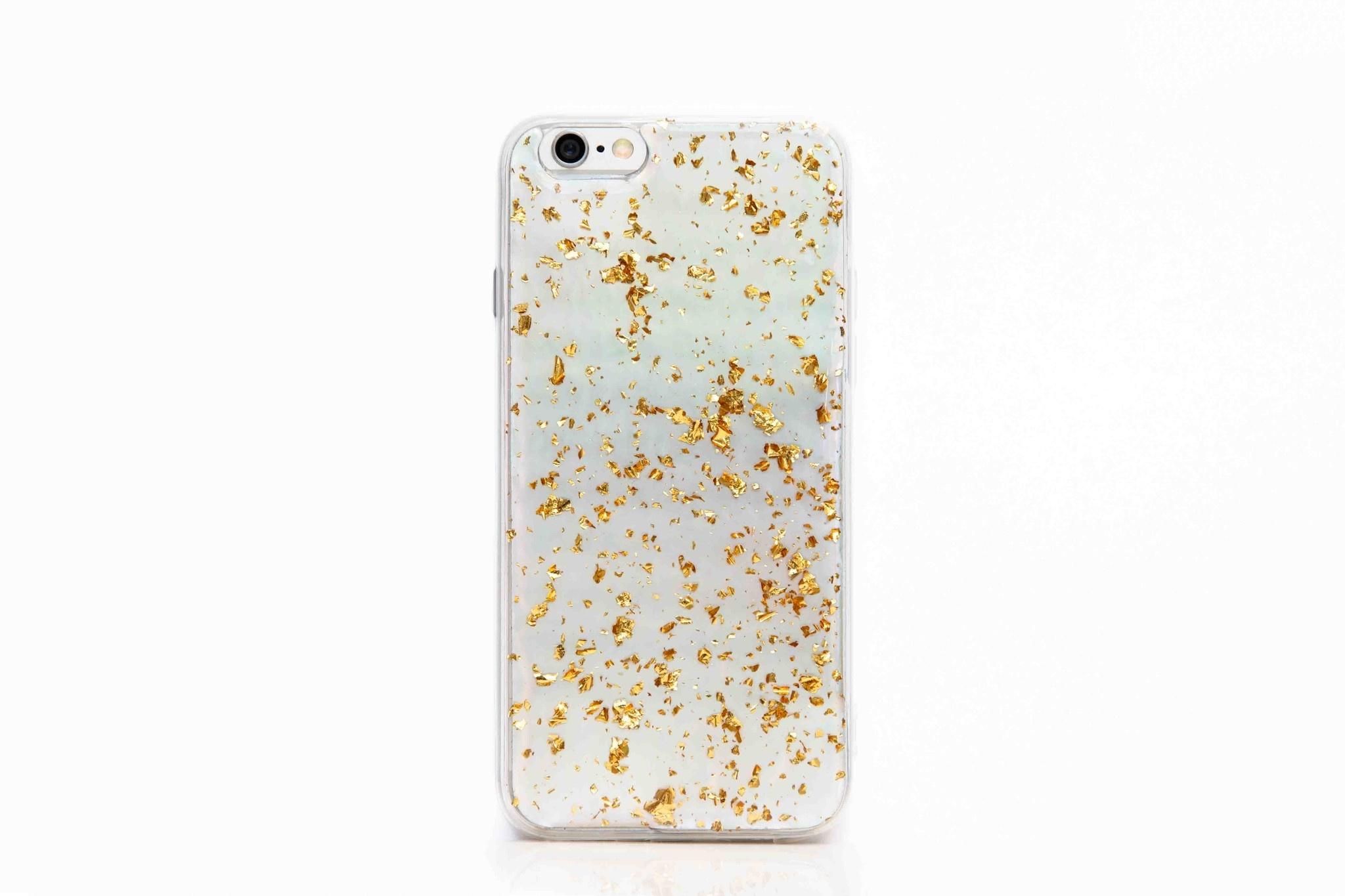 Smartphonehoesje iPhone 6s | Marmerlook met glitters | Parelmoer