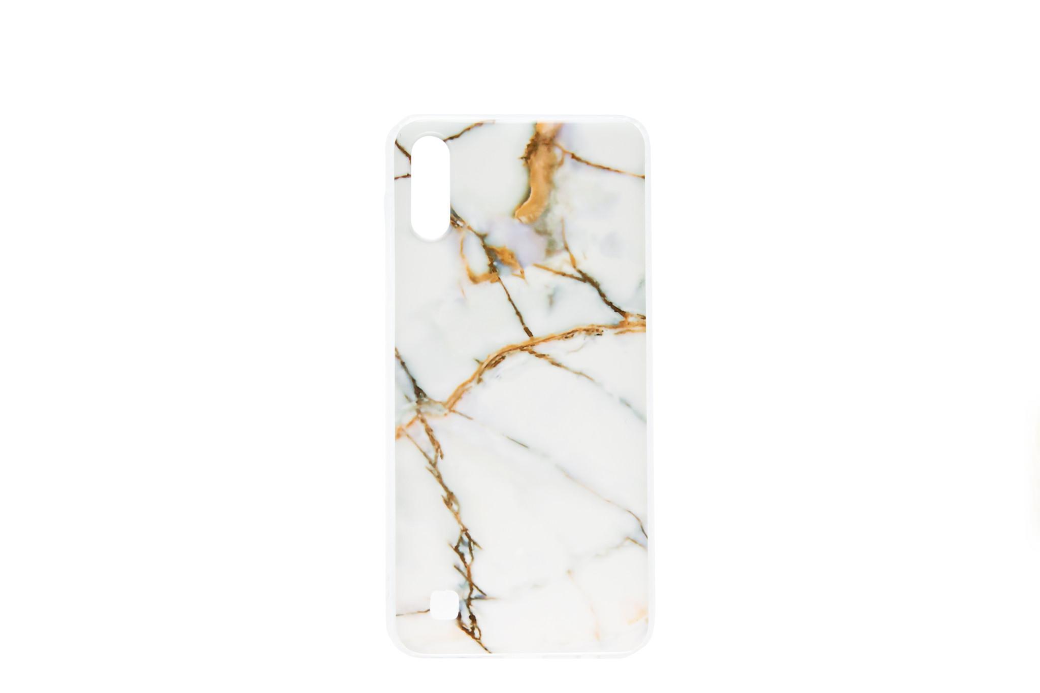 Smartphonehoesje Samsung A10 | Marmerlook | Wit / Bruin