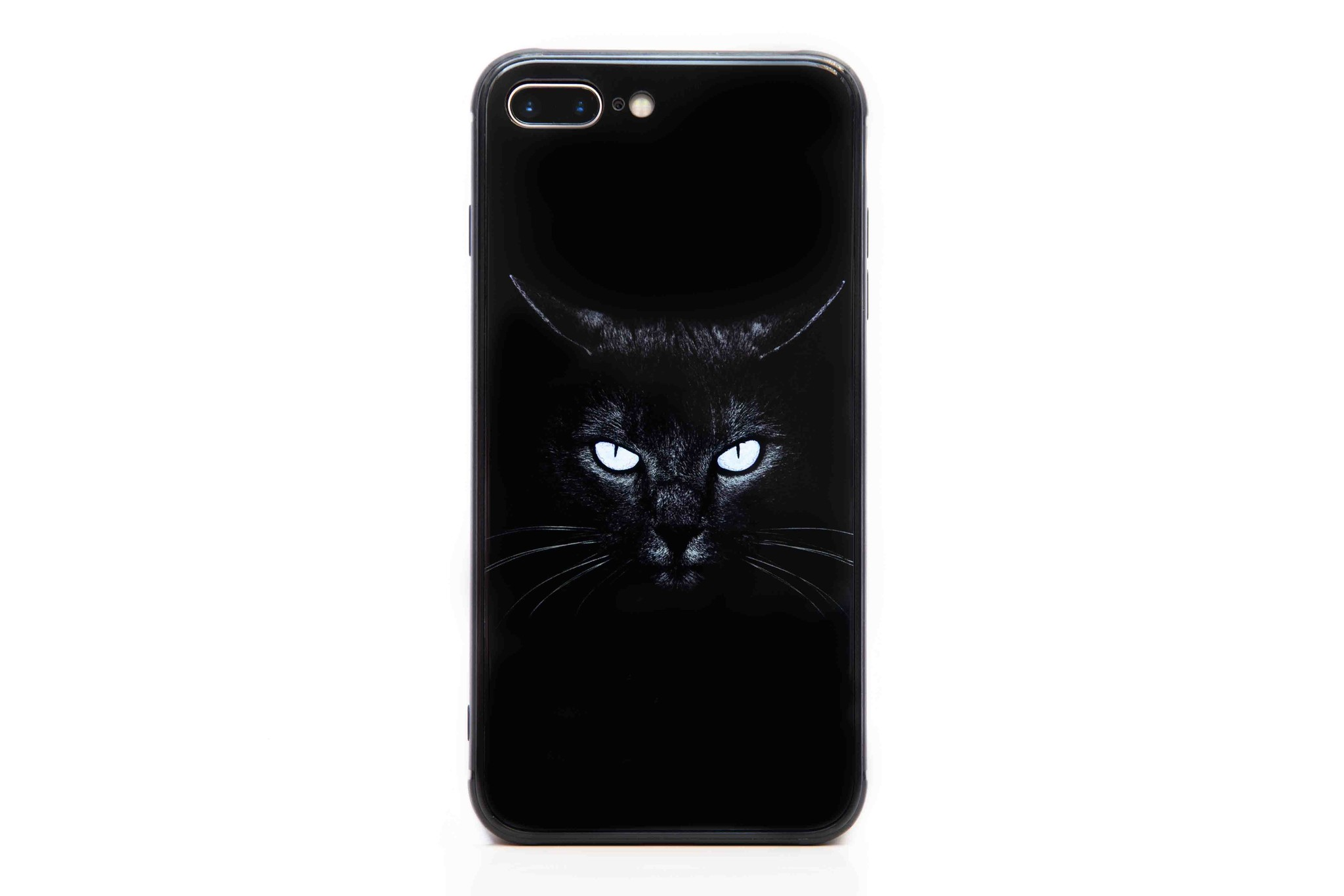 Smartphonehoesje iPhone 7 plus / 8 plus | Zwarte kat glow in the dark
