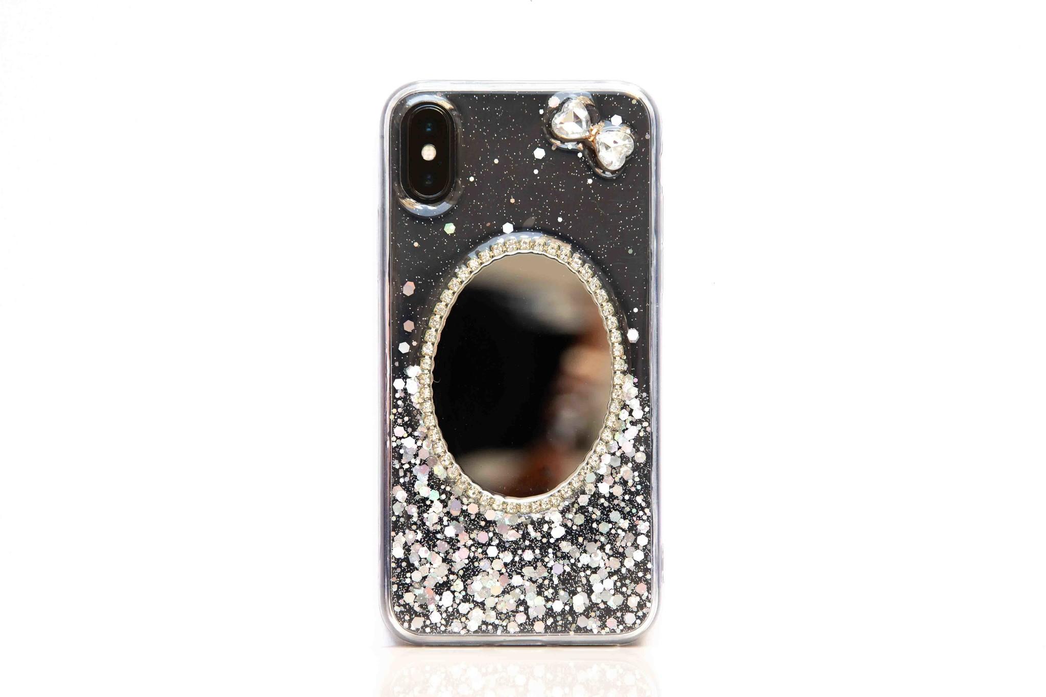 Smartphonehoesje iPhone X   Bling met spiegel   Zilver