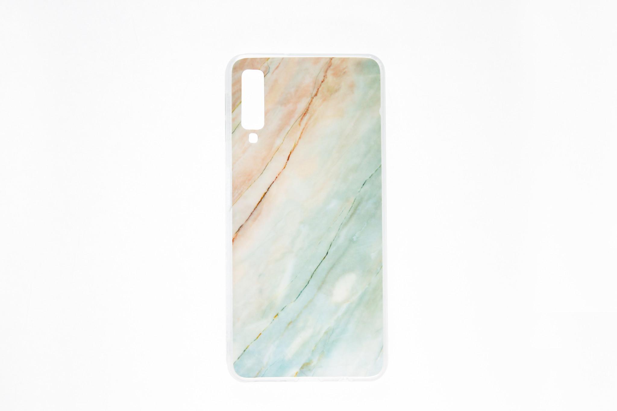 Smartphonehoesje Samsung A10 | Marmerlook | Roze / Blauw