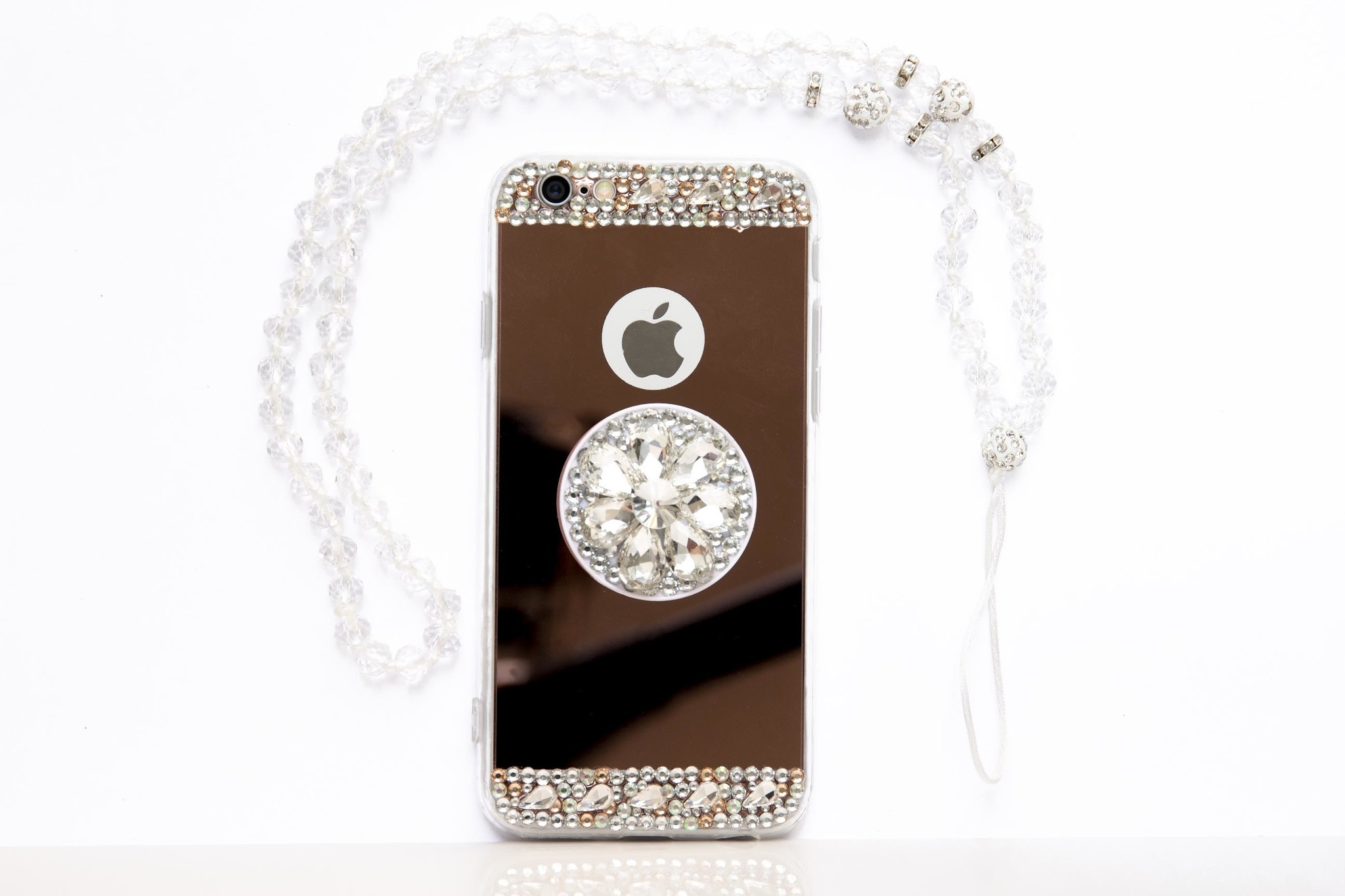 Smartphonehoesje iPhone 7 / 8 | Bling (met ketting) | Goud / roze