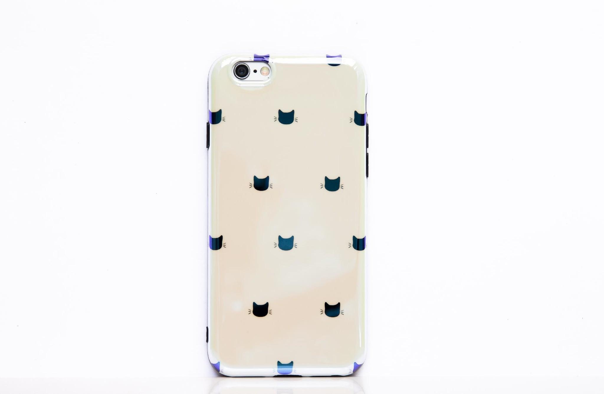 Smartphonehoesje iPhone 7 / 8  | Kattenhoofdjes wit