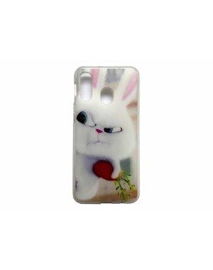 Smartphonehoesje Samsung A40 | Dieren (Konijn) | Wit