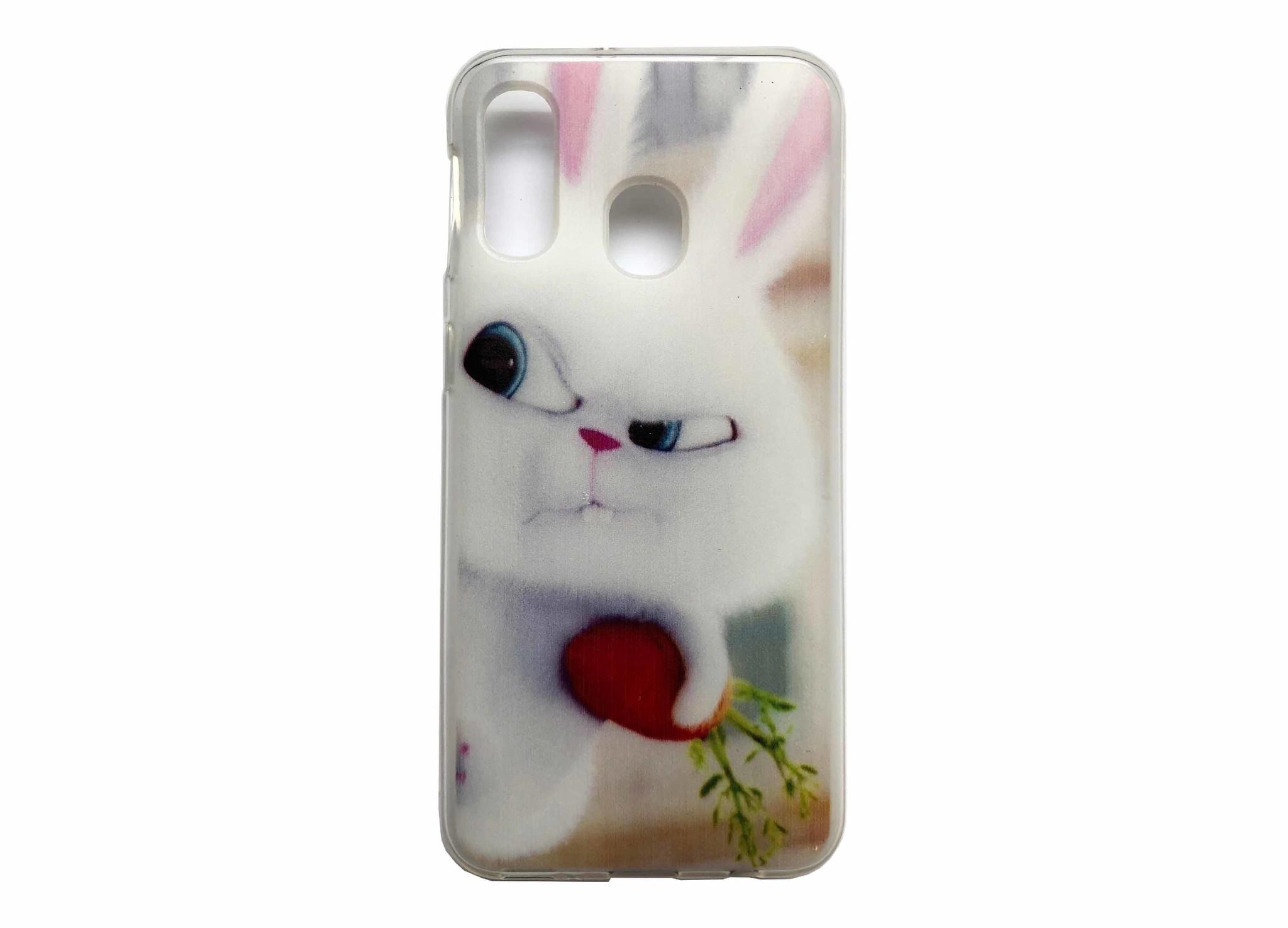 Smartphonehoesje Samsung A40   Dieren (Konijn)   Wit