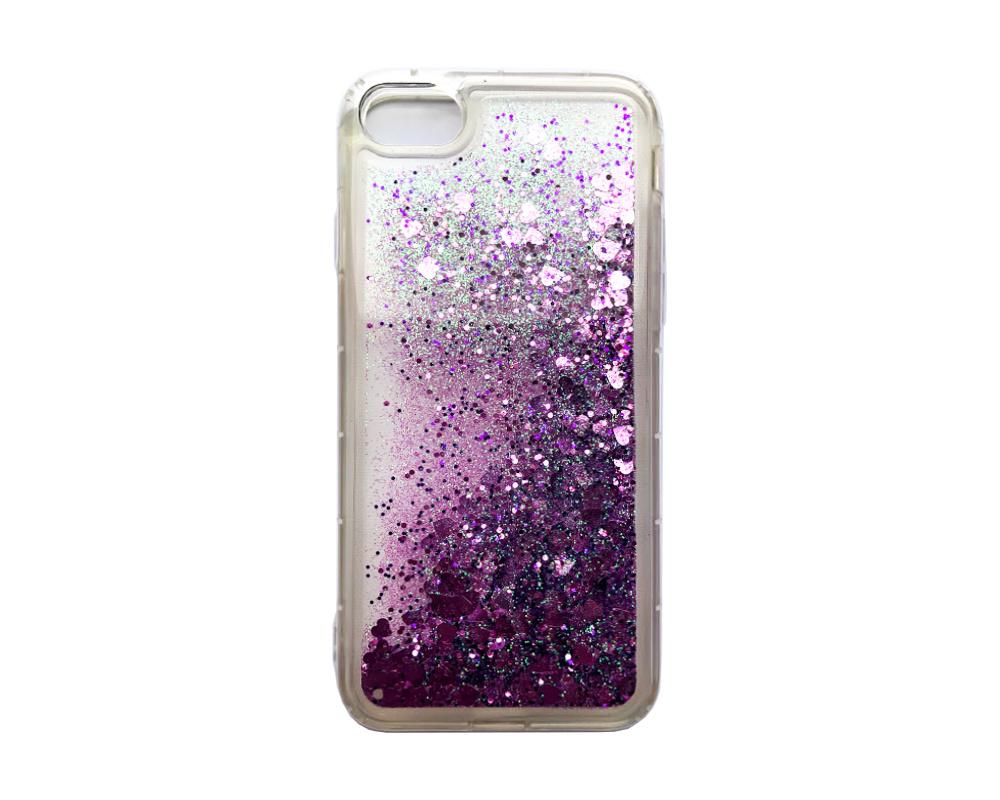 Smartphonehoesje iPhone X / XS | Bewegende hartjes paars