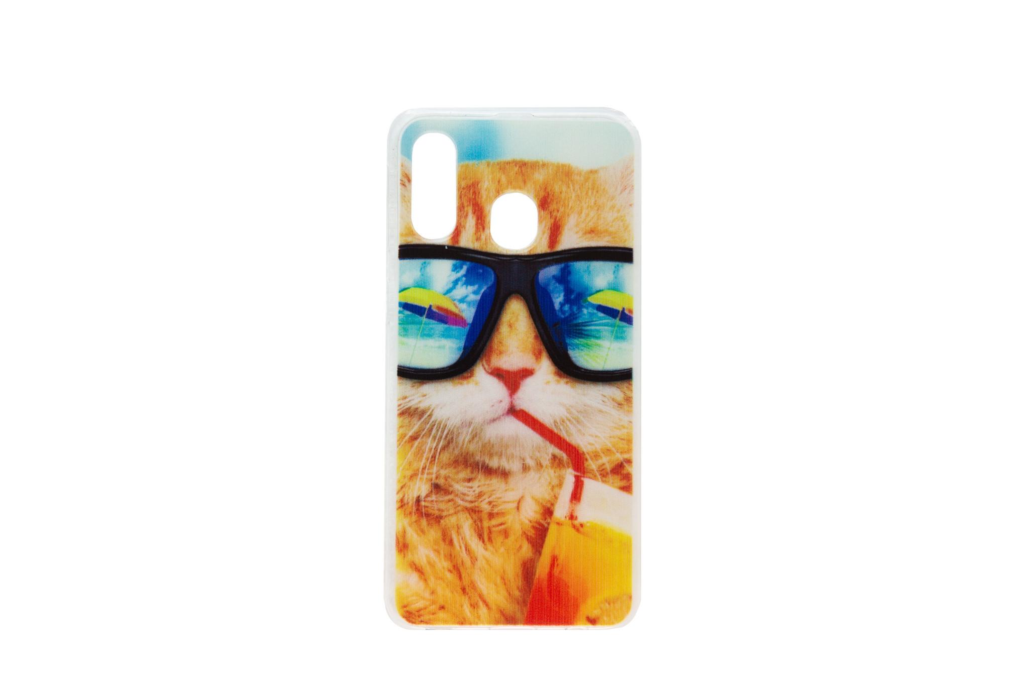 Smartphonehoesje Samsung A40 | Dieren (Kat) | Multicolor