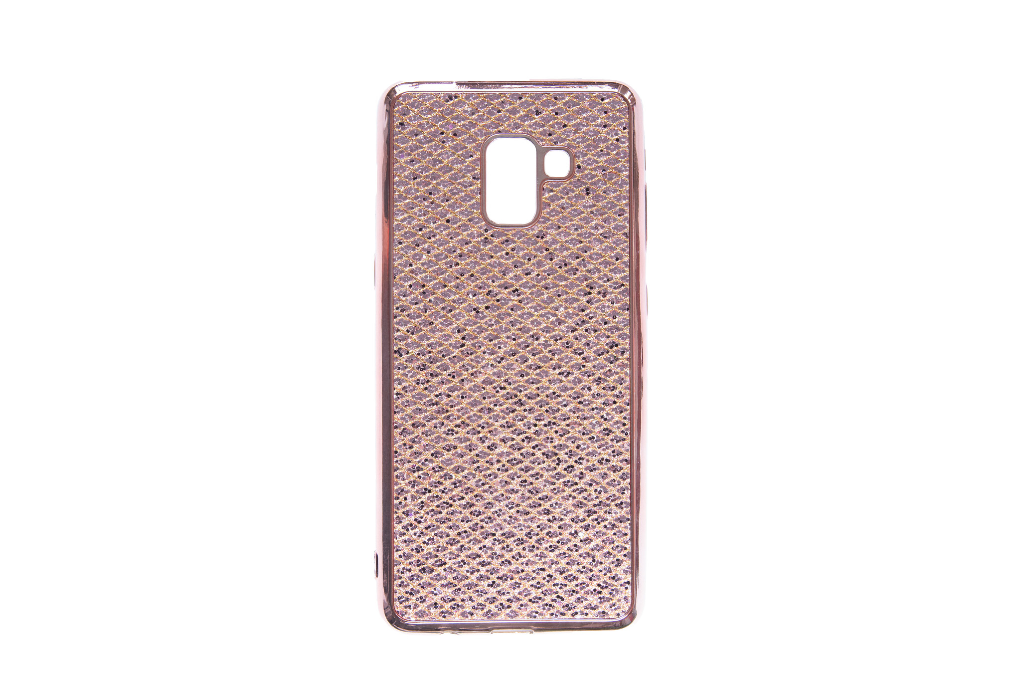 Smartphonehoesje Samsung A8 | Plus | 2018 | Bling met glitters | Rose gold