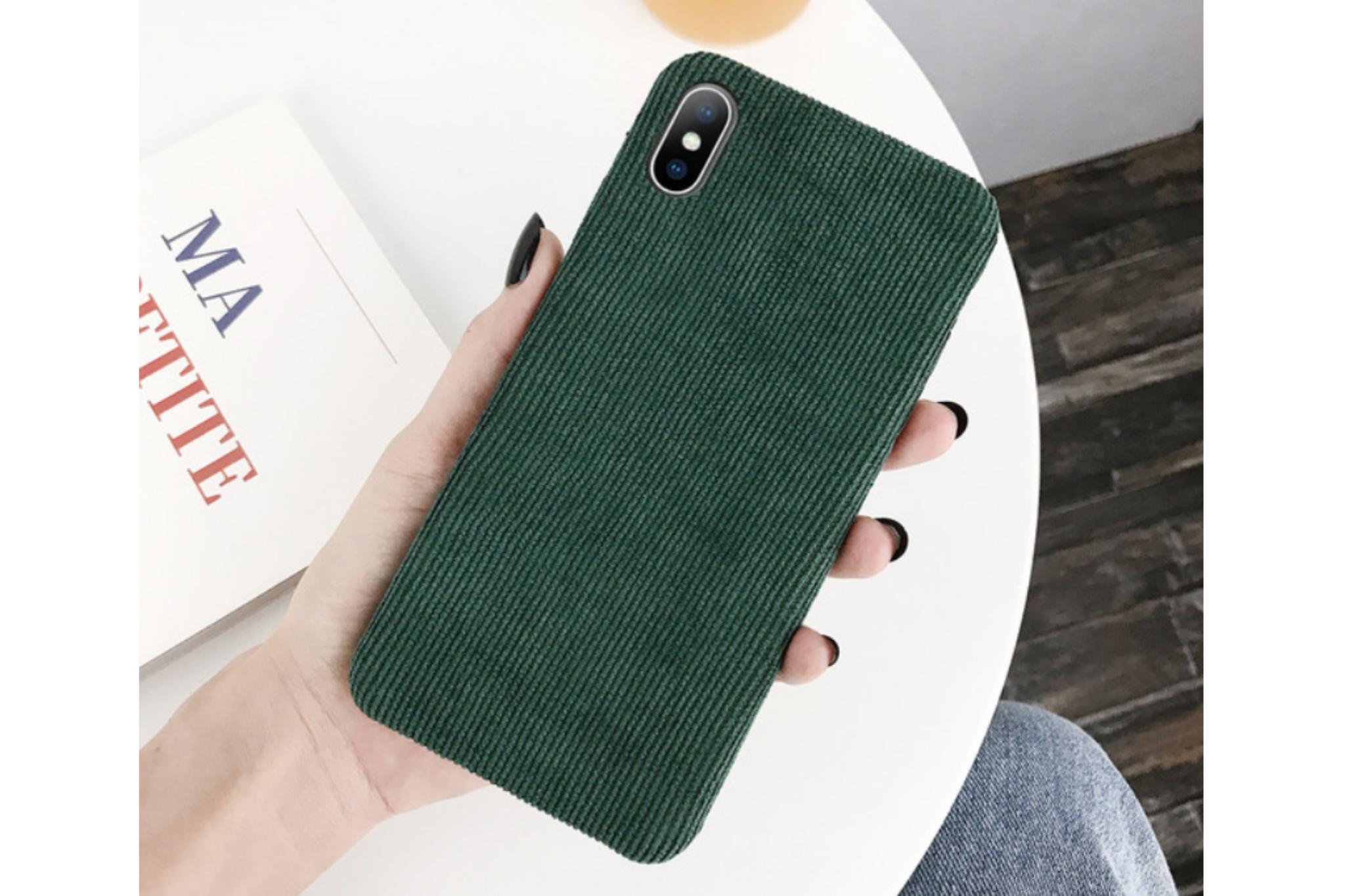 Ribstof telefoonhoesje iPhone 7 / 8 | Groen