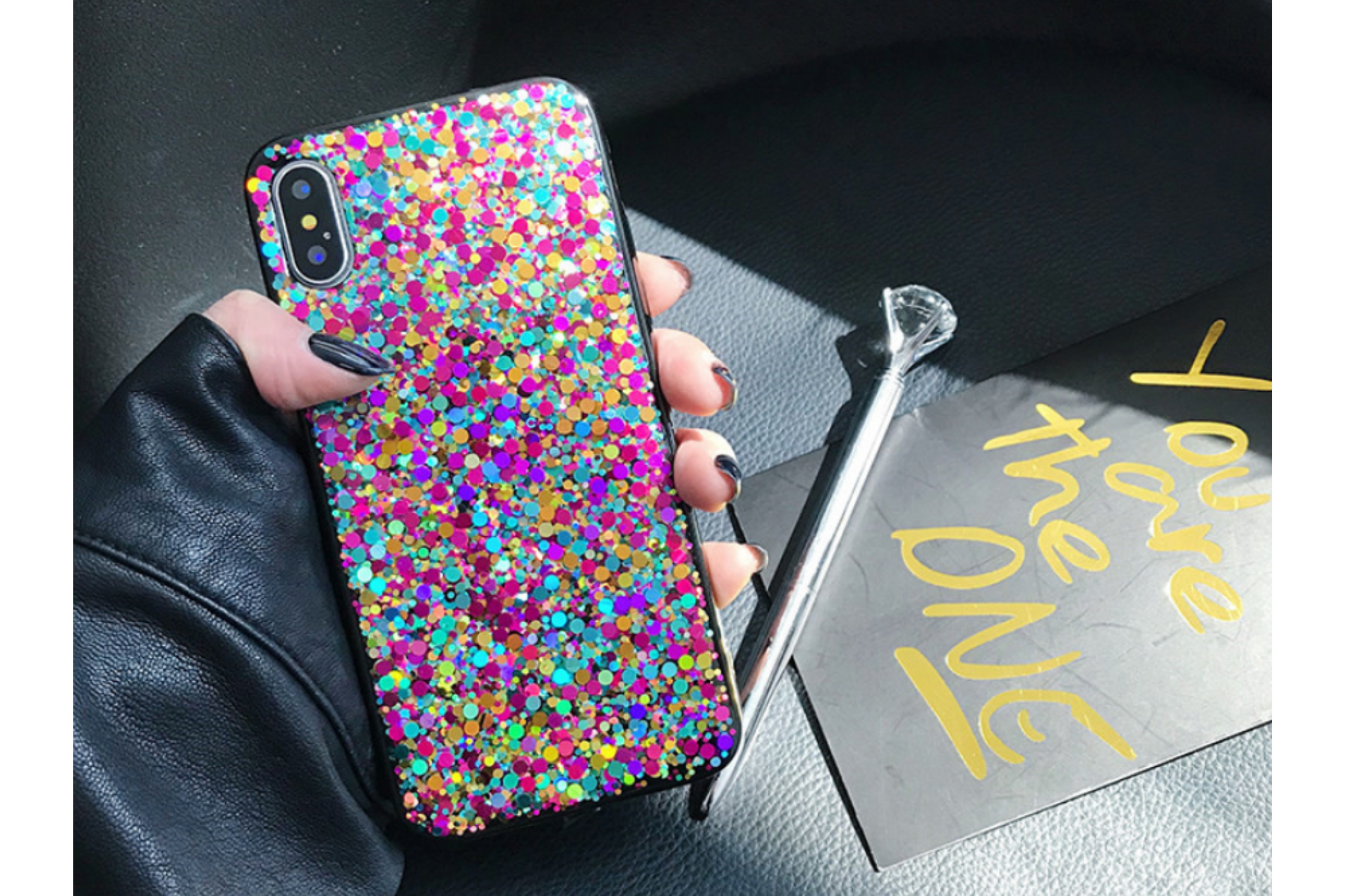 Smartphonehoesje iPhone X / XS   Bling met glitters   Multicolor