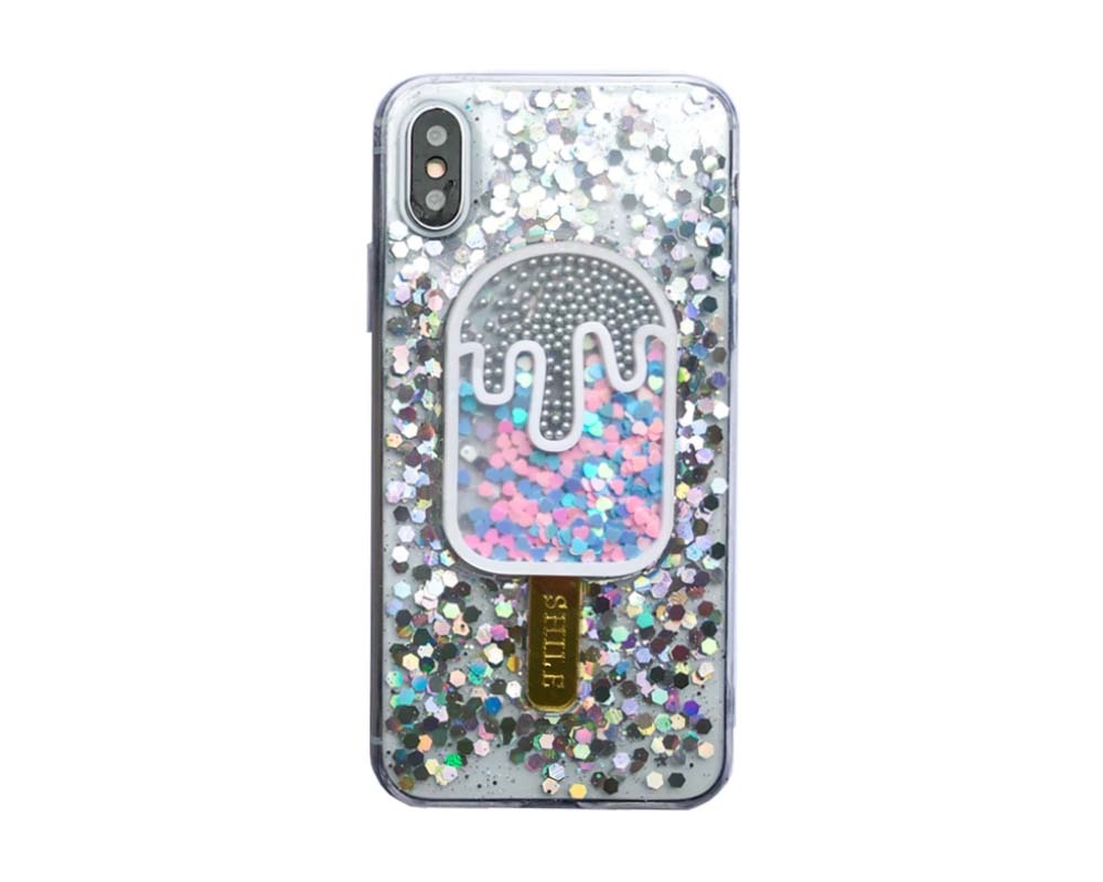 Smartphonehoesje iPhone X / XS | Glitterijsje zilver