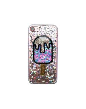 Smartphonehoesje iPhone 6 Plus | Glitterijsje zilver/zwart