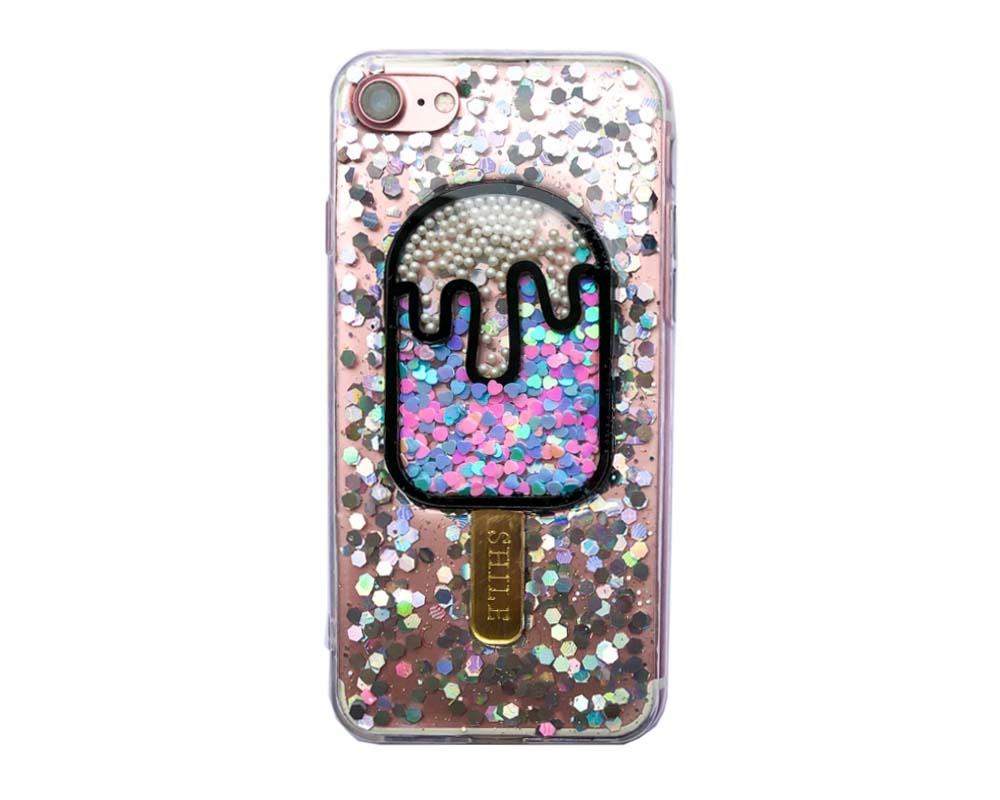 Smartphonehoesje iPhone 6 Plus | Glitterijsje zilver-zwart