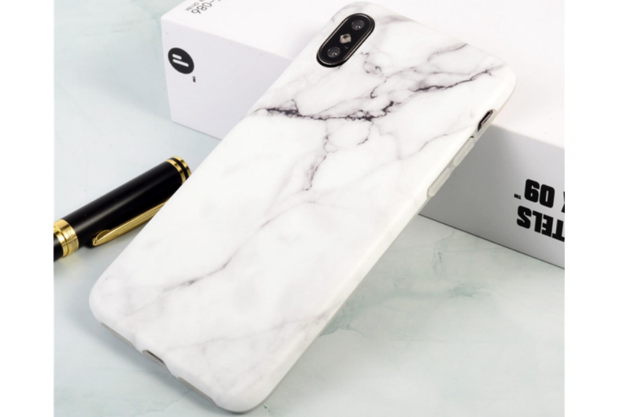 Smartphonehoesje iPhone 7 / 8 Plus | Marmerlook | Wit / antraciet