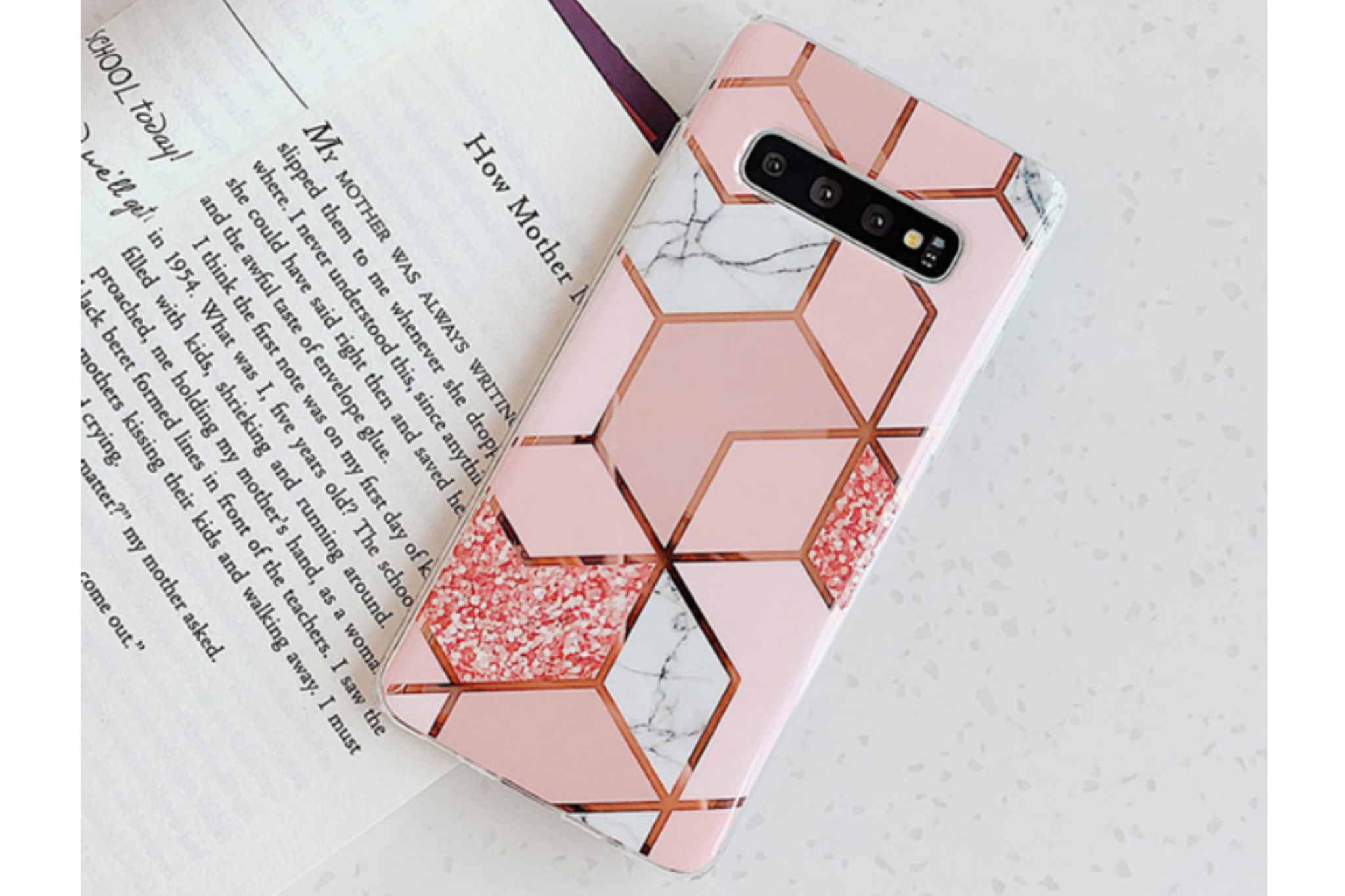 Smartphonehoesje Samsung S9 | Design patroon | Roze-goud
