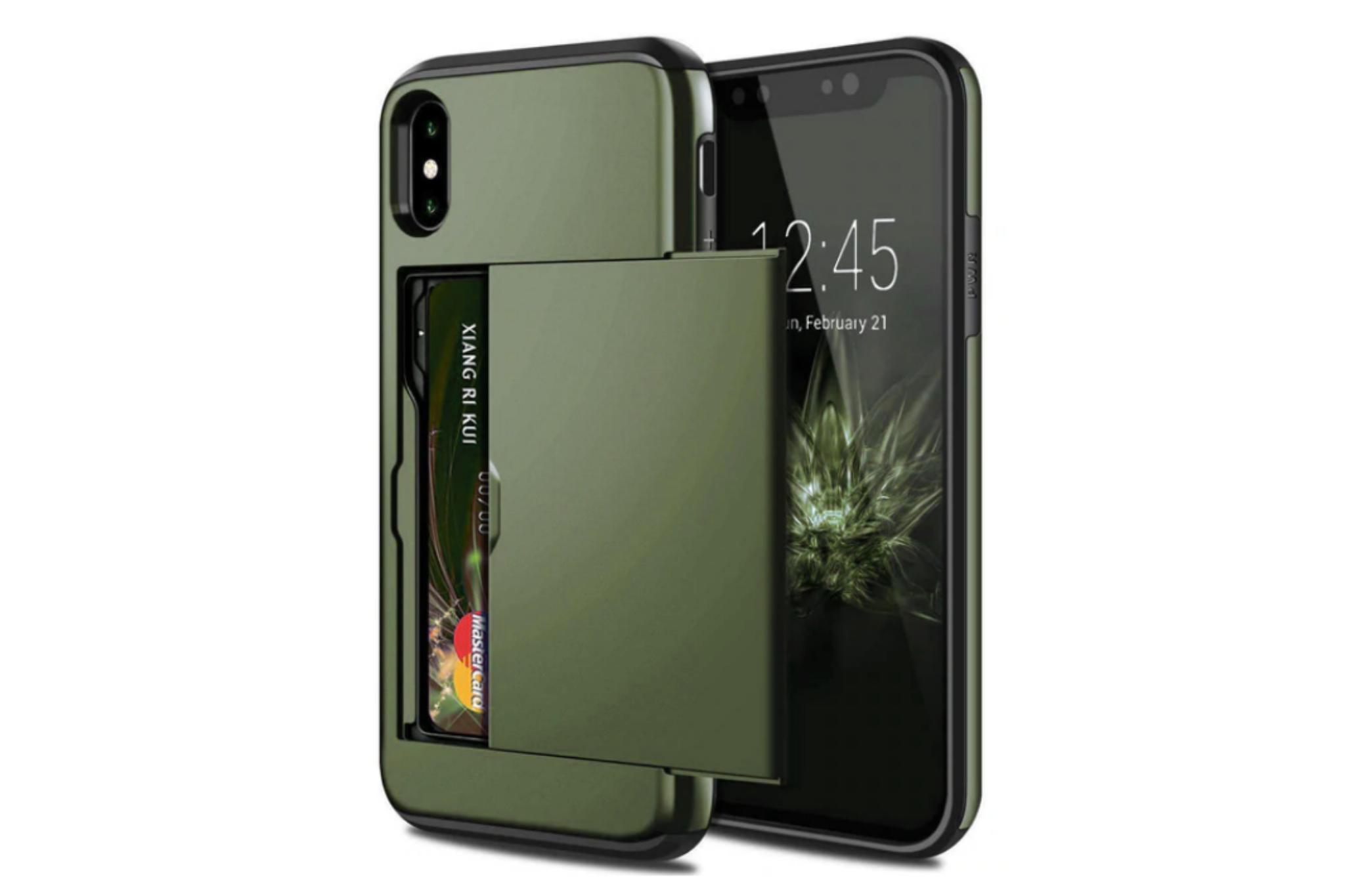 Smartphonehoesje iPhone 7 / 8   Pasjesschuif groen