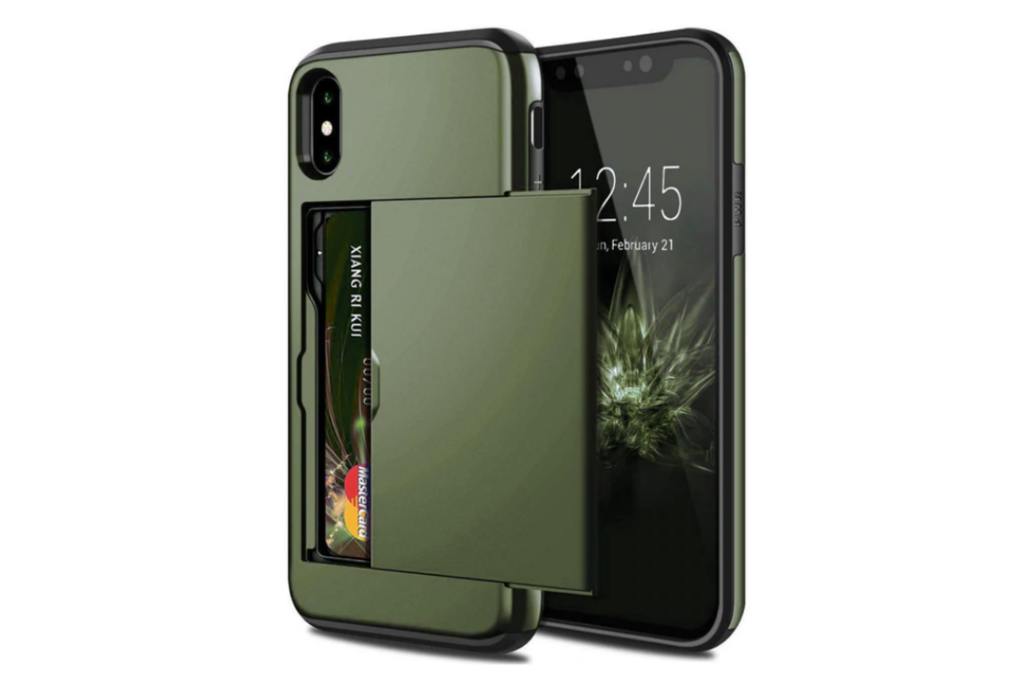 Smartphonehoesje iPhone X / XS   Pasjesschuif groen