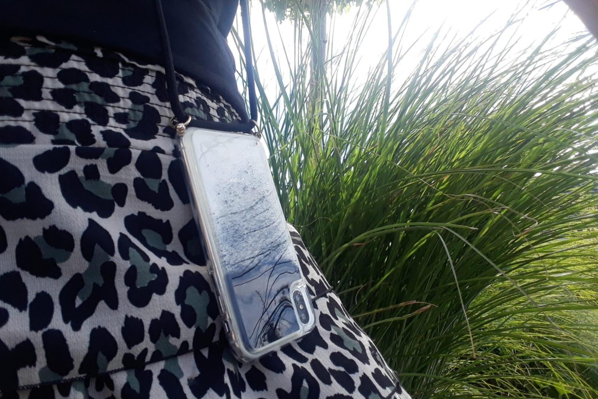 Smartphonehoesje iPhone X / XS  | Koord en glitters | Zwart