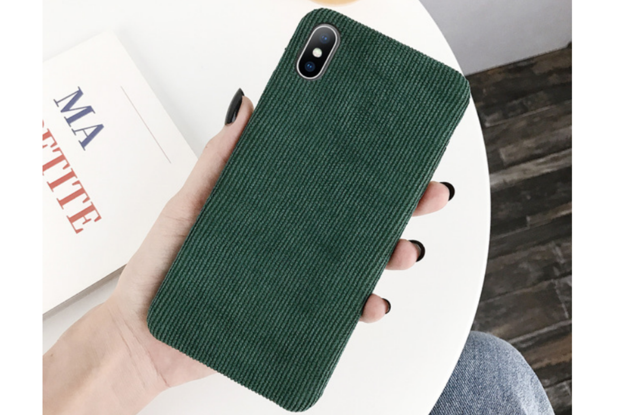 Ribstof telefoonhoesje iPhone XS Max | Groen