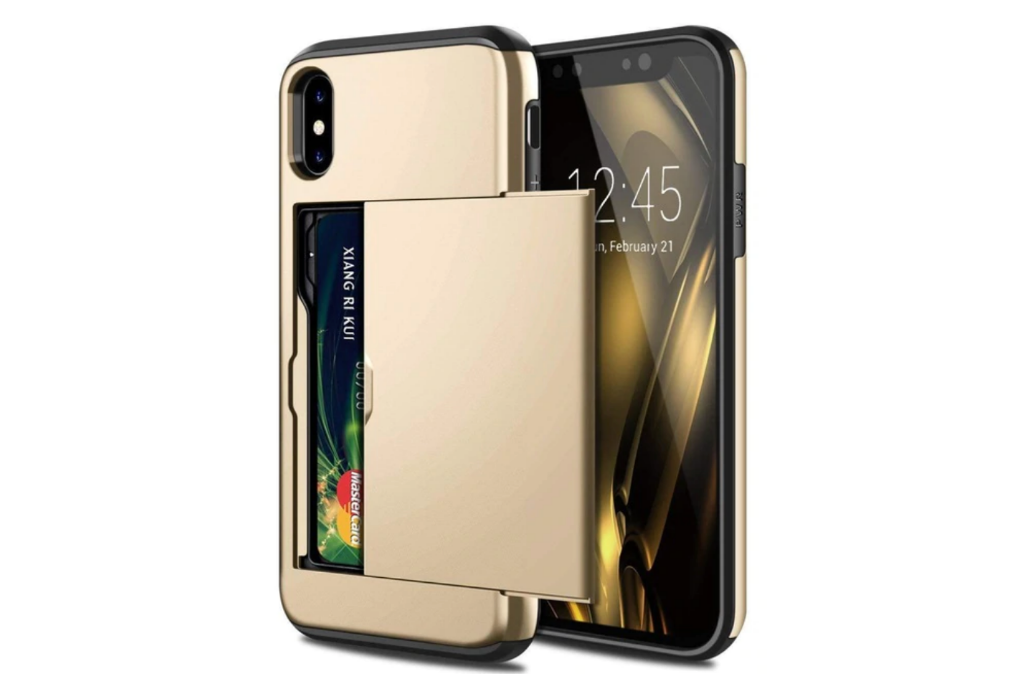 Smartphonehoesje iPhone X / XS | Pasjesschuif goud