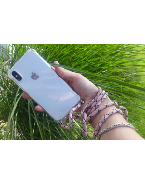Transparant hoesje iPhone 7 / 8 | Incl. Roze + bruin koord