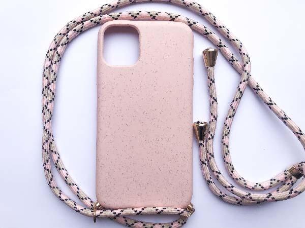Smartphonehoesje iPhone 11   Zachtroze hoesje met koord