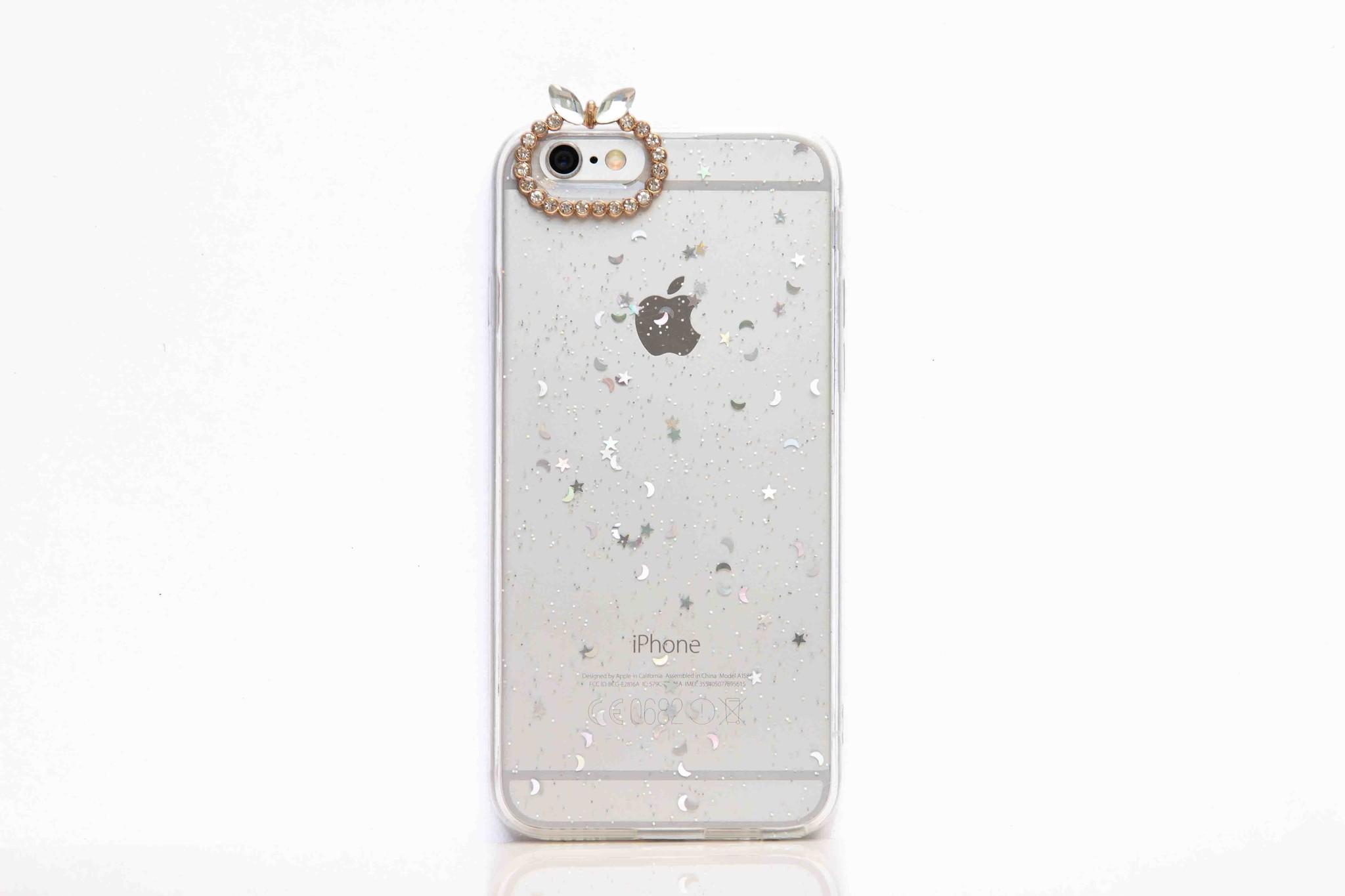 Smartphonehoesje iPhone XR | Transparant met handige diamanten knop