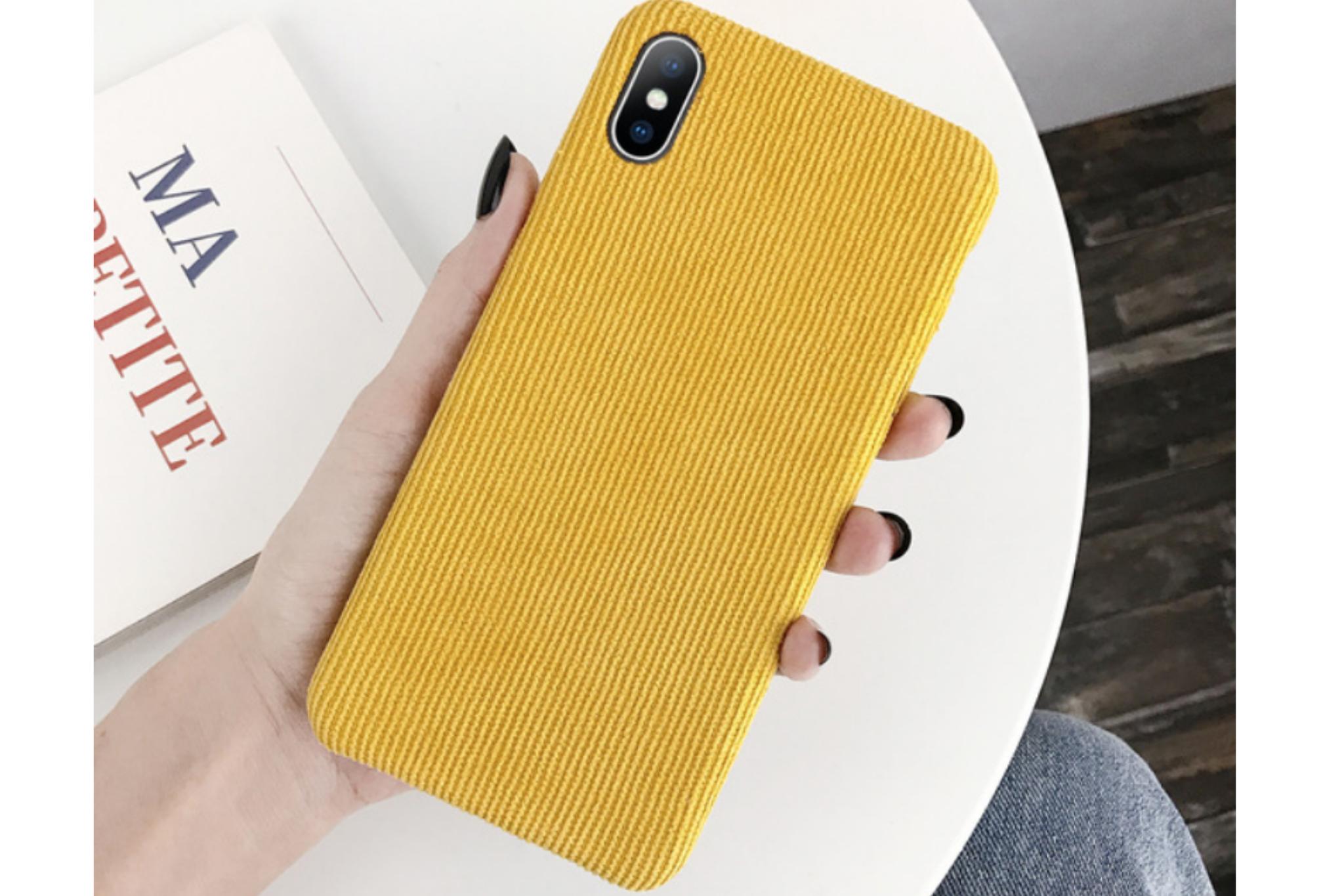 Ribstof telefoonhoesje iPhone XR | Geel